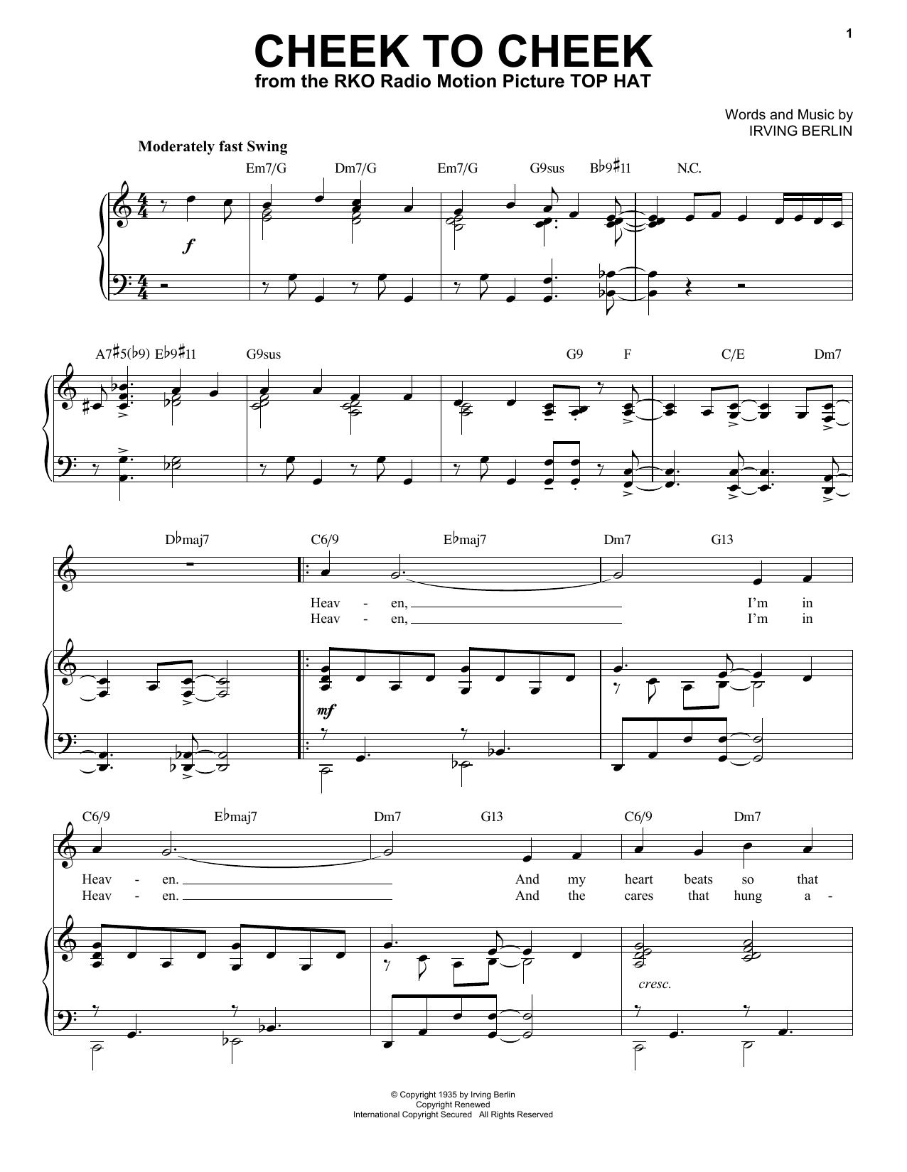 Cheek To Cheek [Jazz version] (arr. Brent Edstrom) (Piano & Vocal)