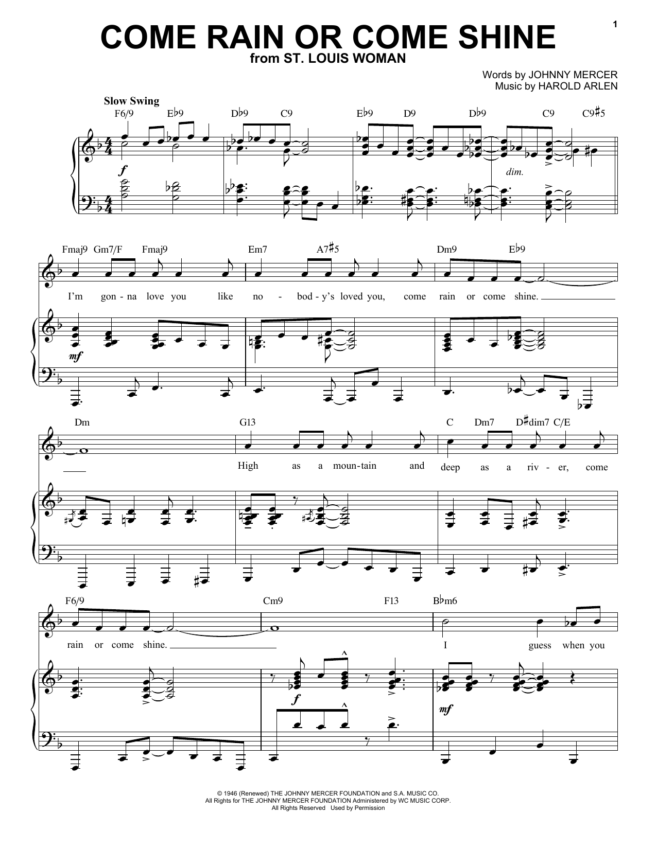 Come Rain Or Come Shine [Jazz version] (from St. Louis Woman) (arr. Brent Edstrom) (Piano & Vocal)