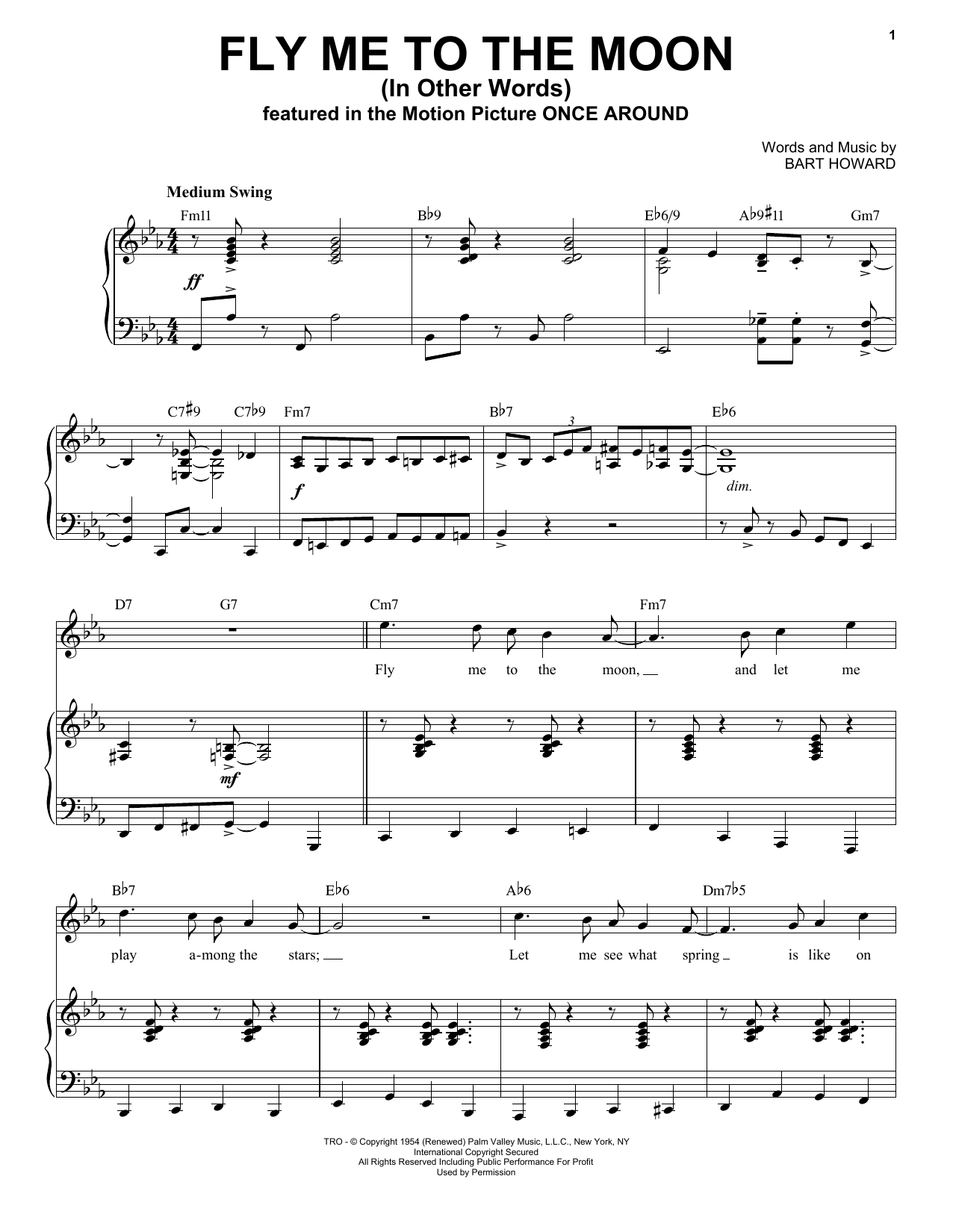 Fly Me To The Moon (In Other Words) [Jazz version] (arr. Brent Edstrom) (Piano & Vocal)