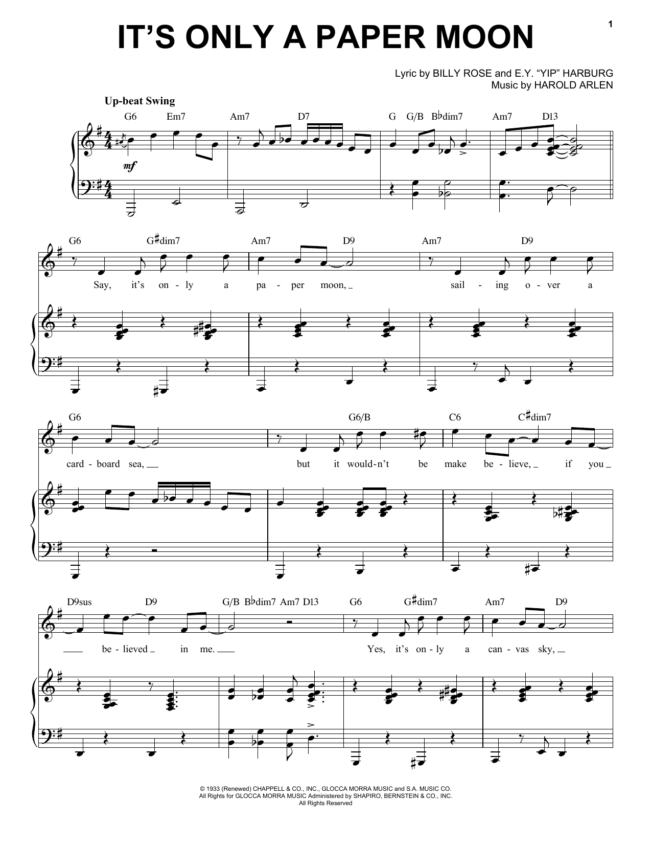 It's Only A Paper Moon [Jazz version] (arr. Brent Edstrom) (Piano & Vocal)
