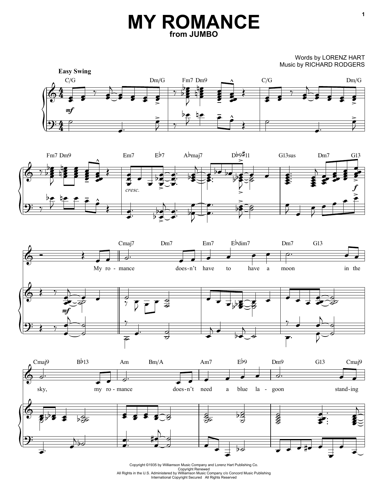 My Romance [Jazz version] (from Jumbo) (arr. Brent Edstrom) (Piano & Vocal)