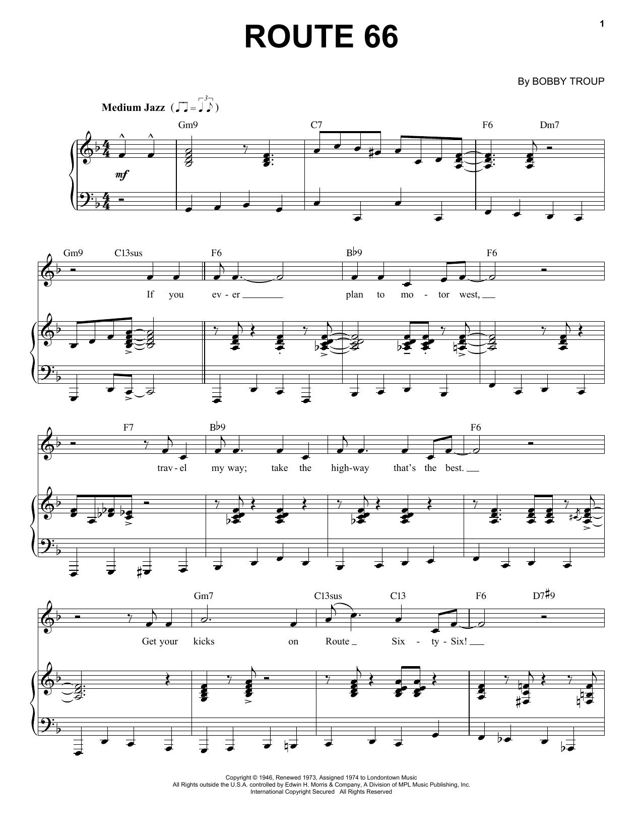 Route 66 [Jazz version] (arr. Brent Edstrom) (Piano & Vocal)