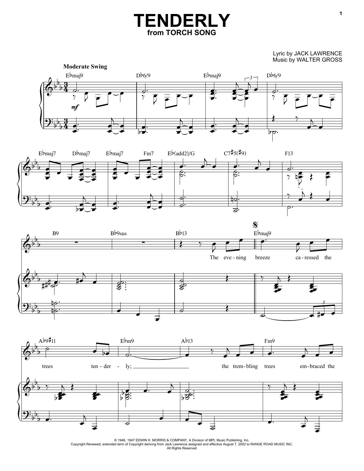 Tenderly [Jazz version] (arr. Brent Edstrom) (Piano & Vocal)