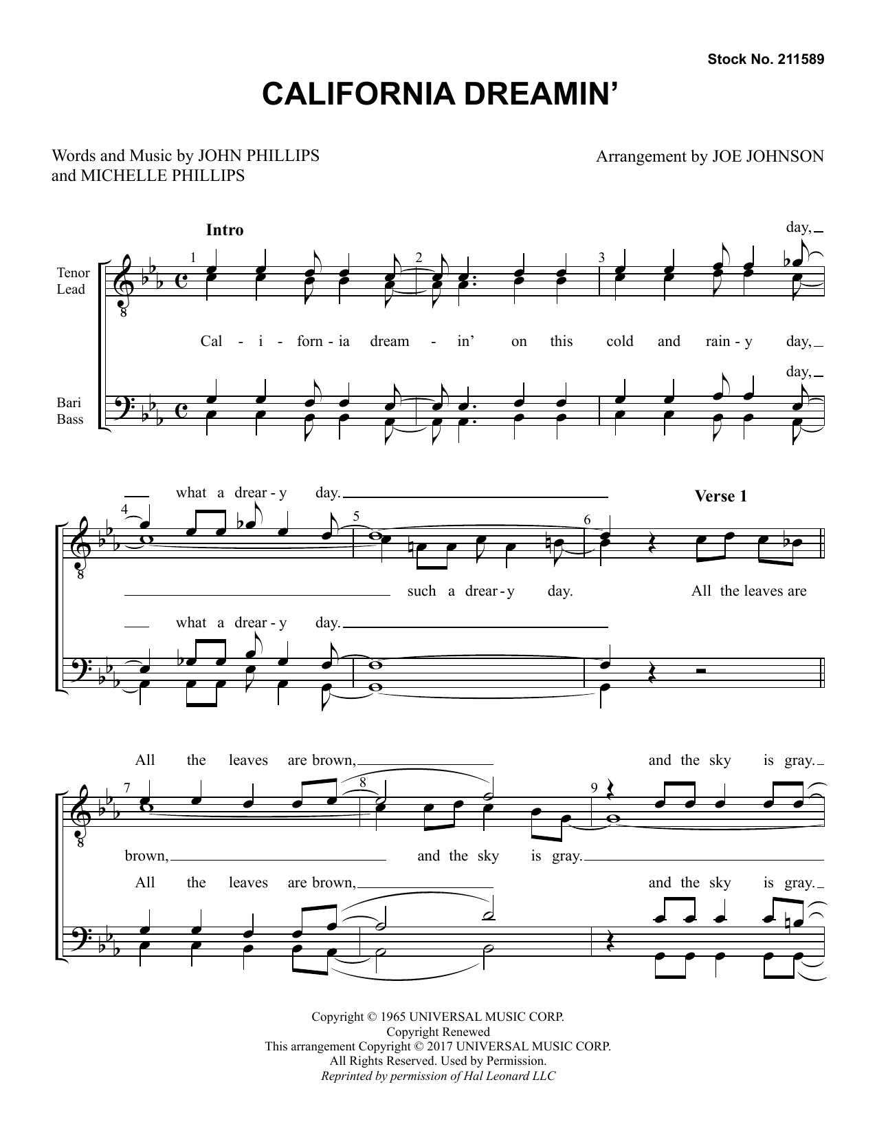 California Dreamin' (arr. Joe Johnson) (TTBB Choir)