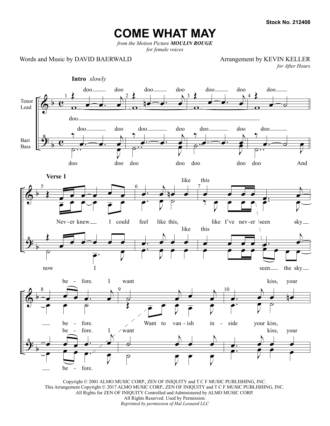 Come What May (from Moulin Rouge) (arr. Kevin Keller) (SSAA Choir)