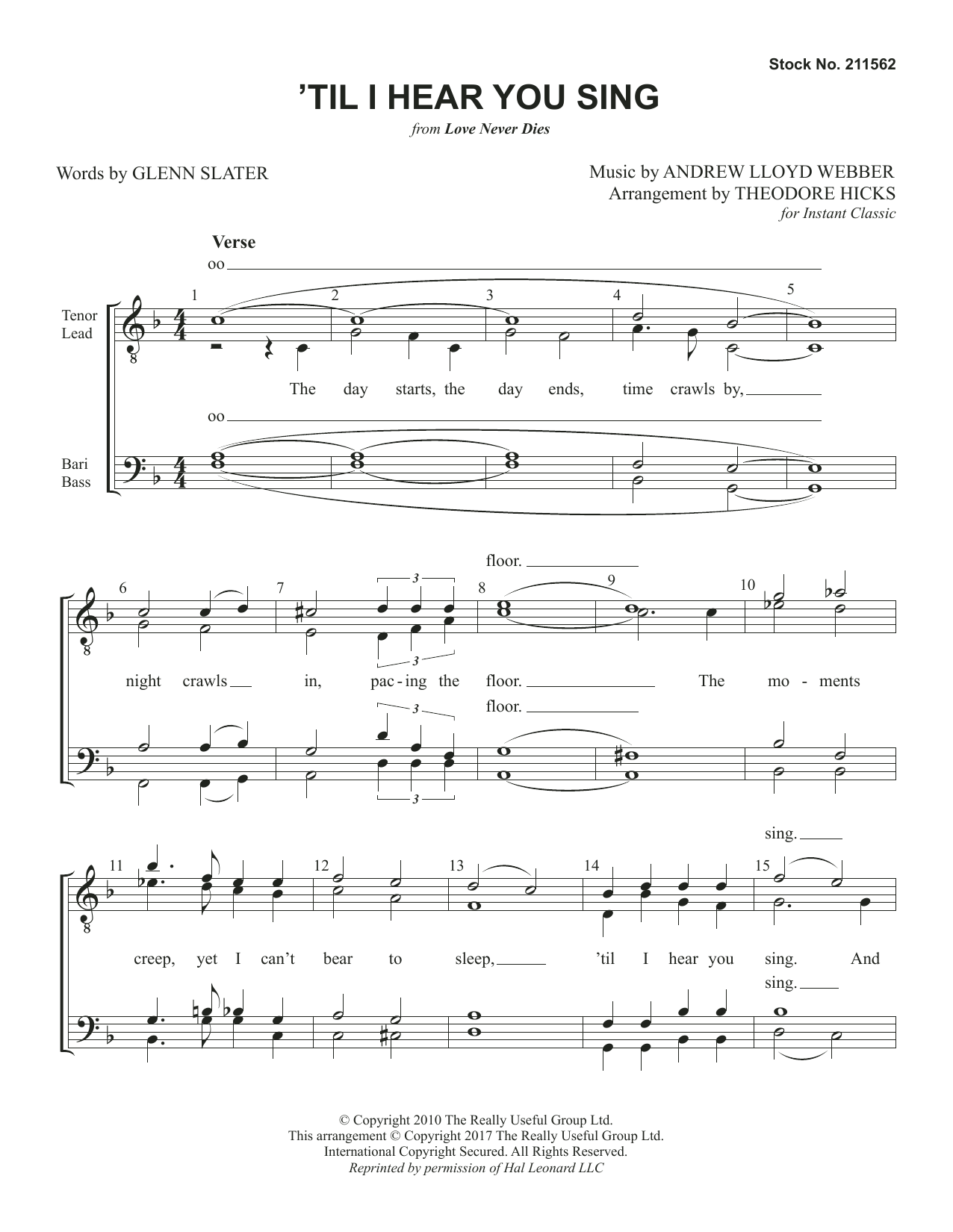 'Til I Hear You Sing (from Love Never Dies) (arr. Theodore Hicks) (TTBB Choir)