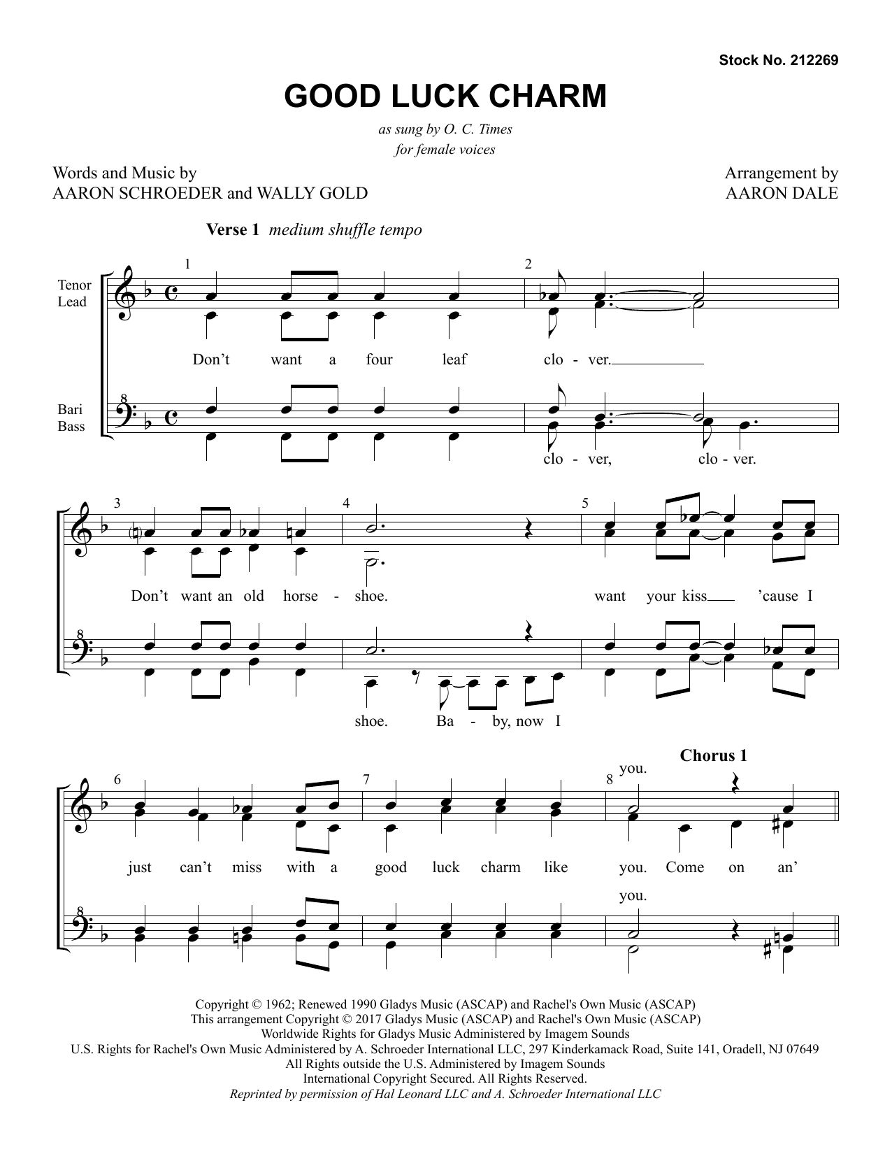 Good Luck Charm (arr. Aaron Dale) (SSAA Choir)