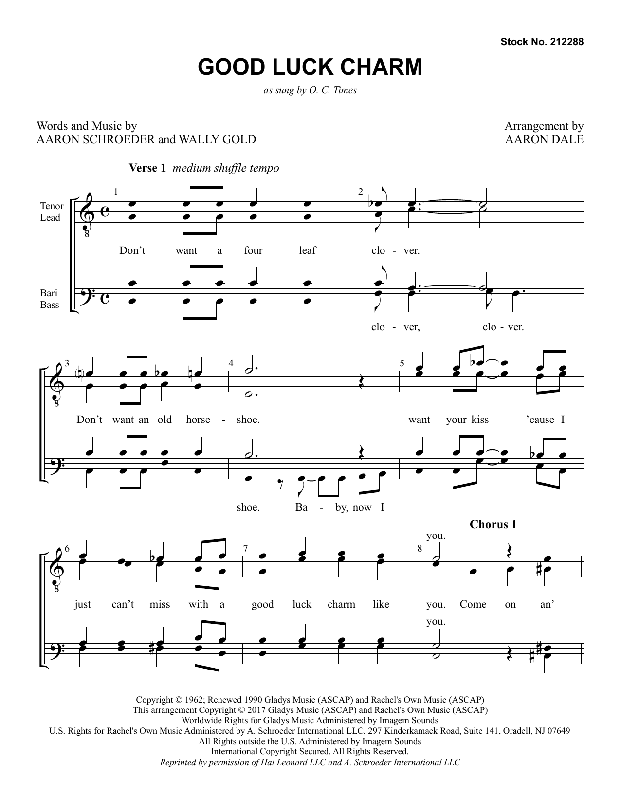 Good Luck Charm (arr. Aaron Dale) Partition Digitale