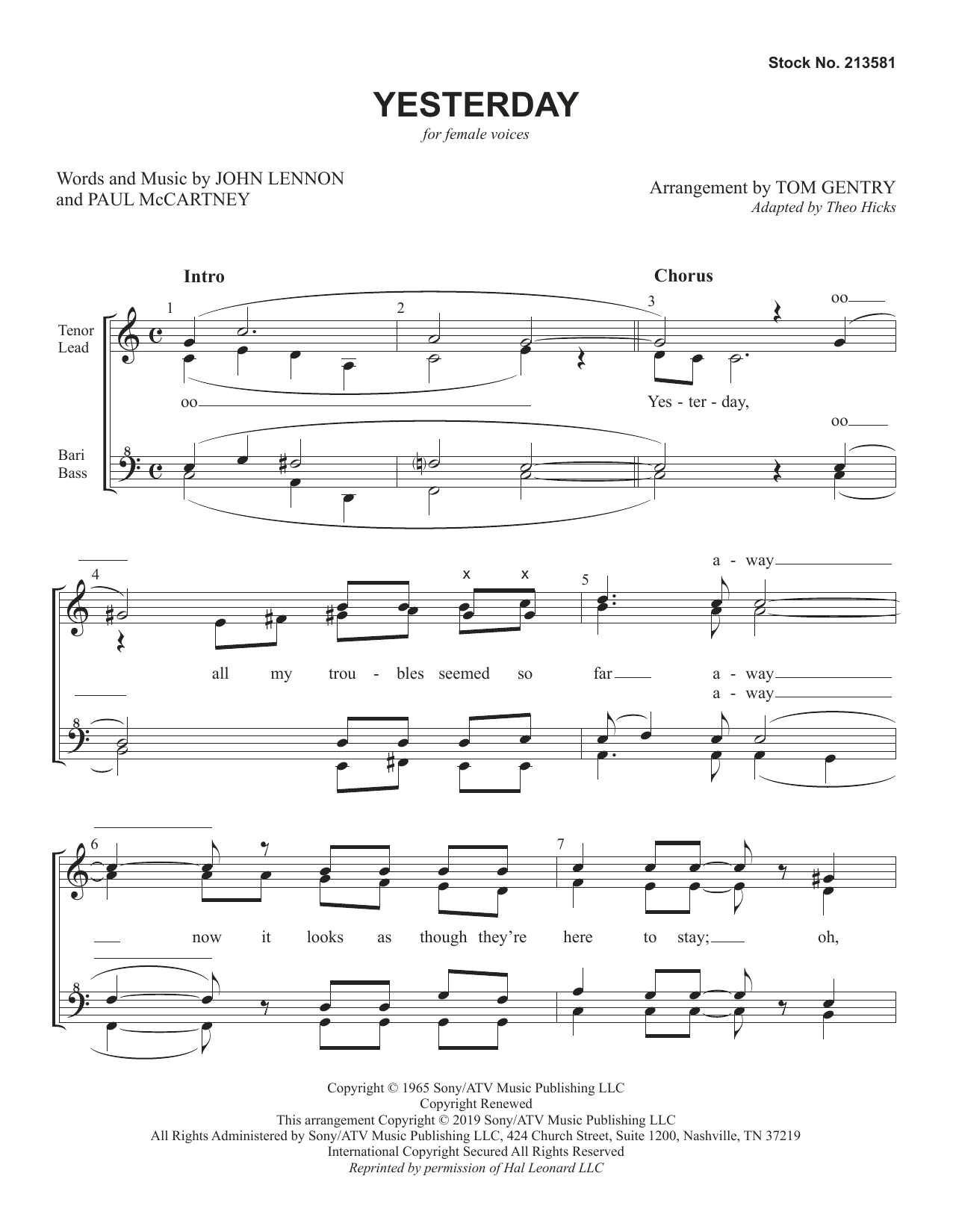 Yesterday (arr. Tom Gentry) Partition Digitale
