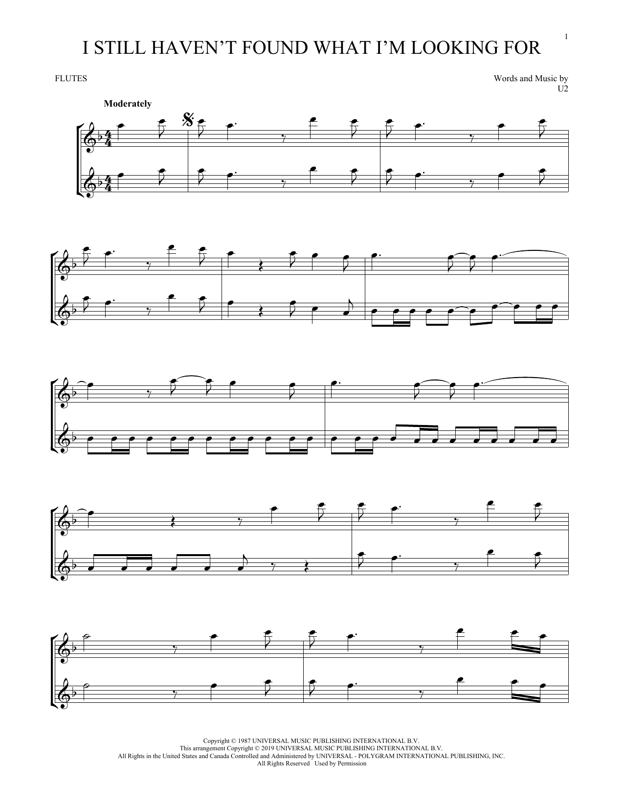 I Still Haven't Found What I'm Looking For (Flute Duet)