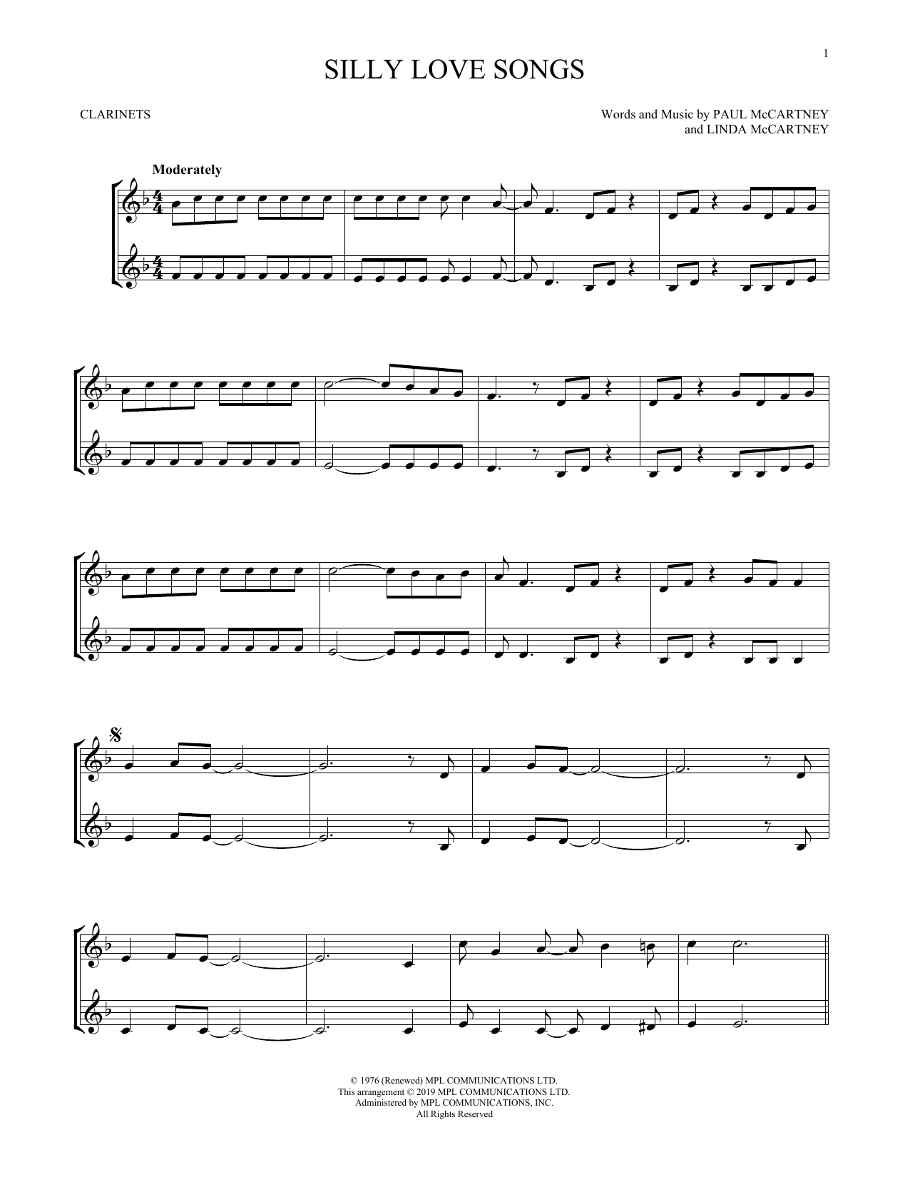 Silly Love Songs (Clarinet Duet)