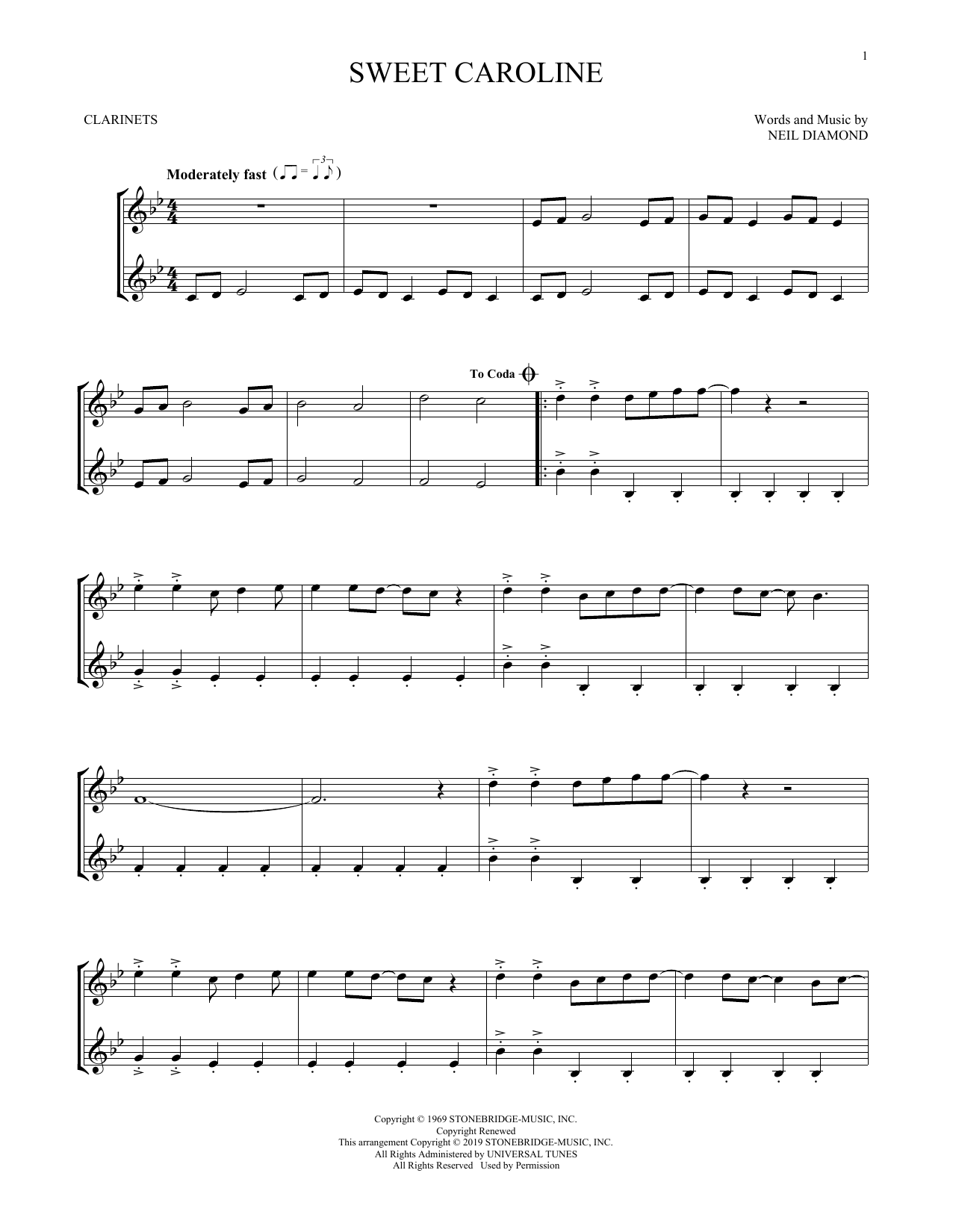 Sweet Caroline (Clarinet Duet)