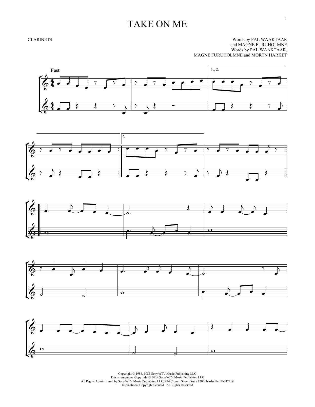 Take On Me (Clarinet Duet)