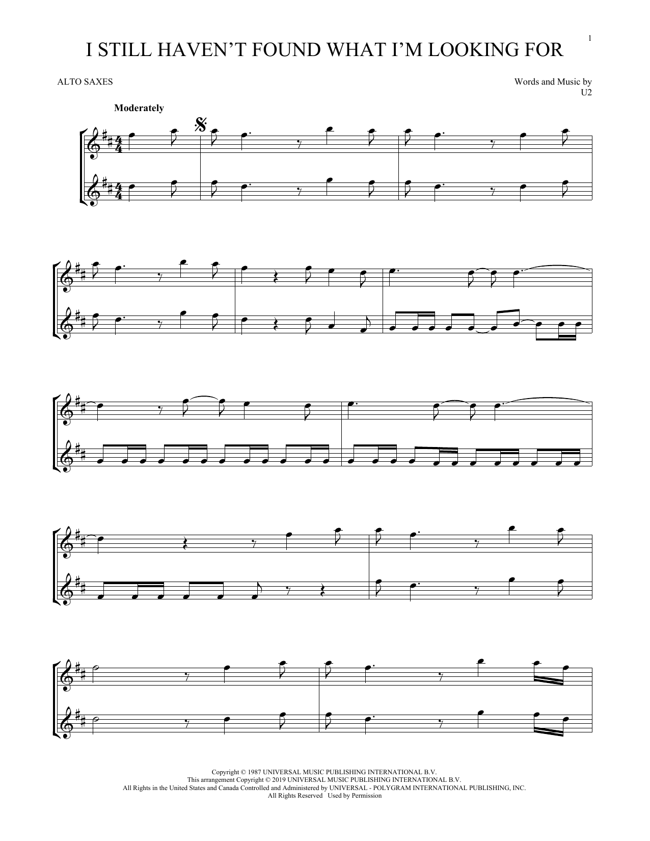 I Still Haven't Found What I'm Looking For (Alto Sax Duet)