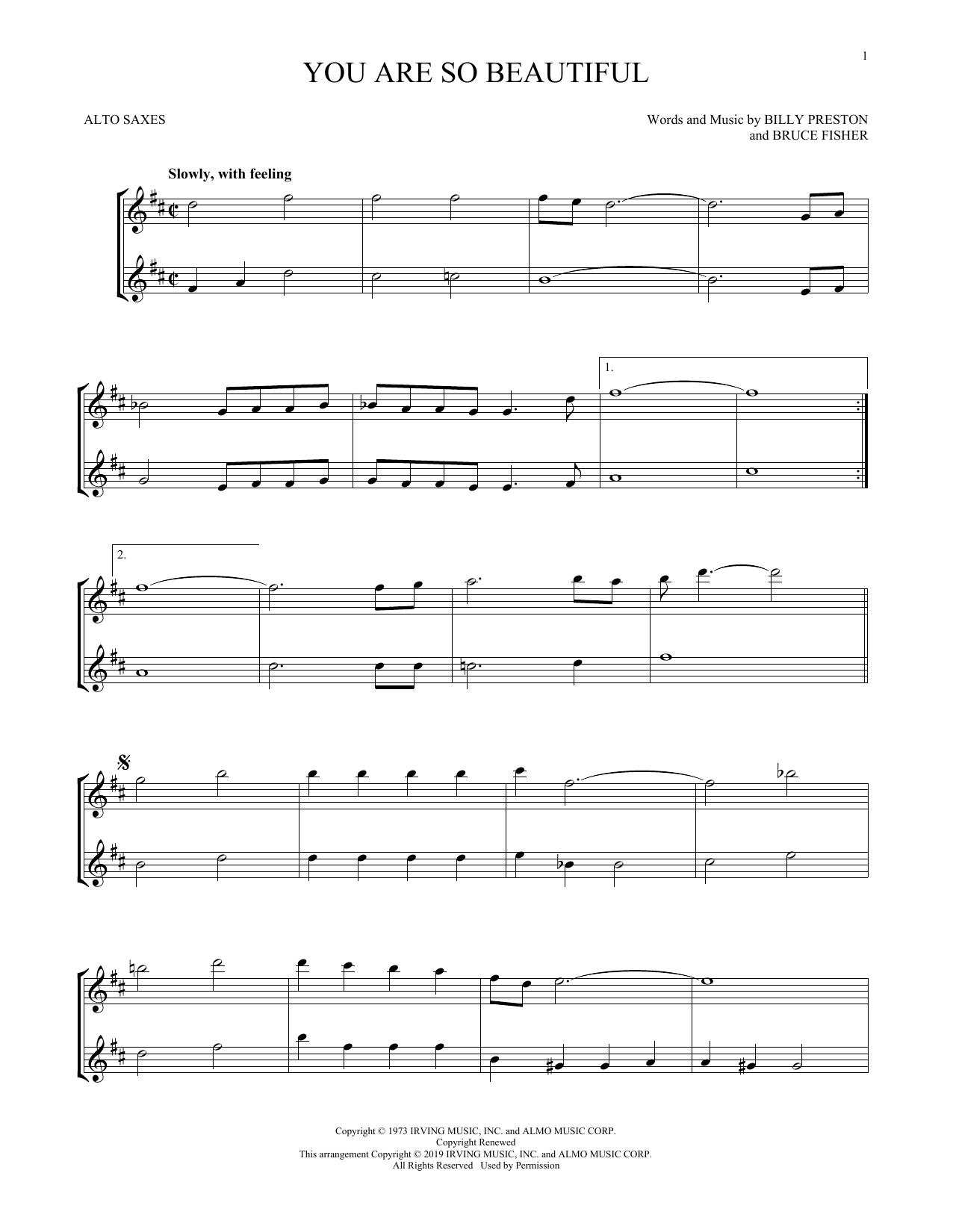 You Are So Beautiful (Alto Sax Duet)
