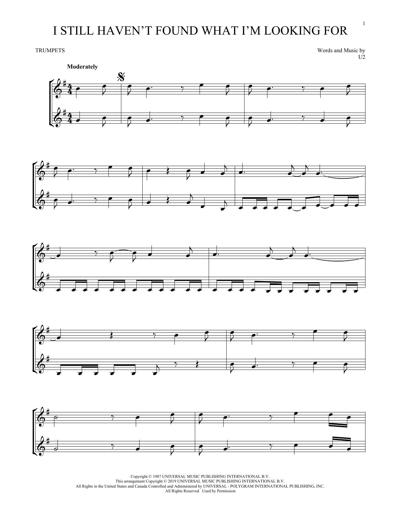 I Still Haven't Found What I'm Looking For (Trumpet Duet)