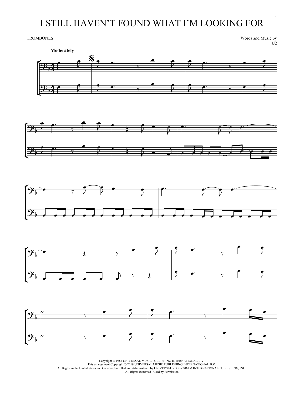 I Still Haven't Found What I'm Looking For (Trombone Duet)