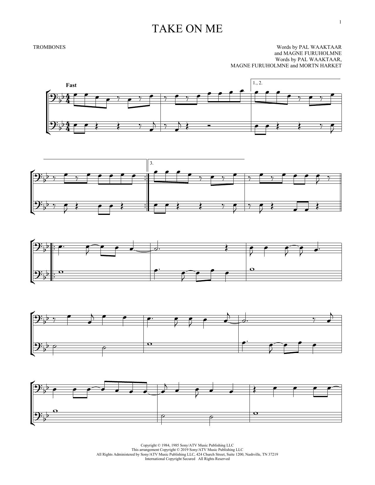 Take On Me (Trombone Duet)