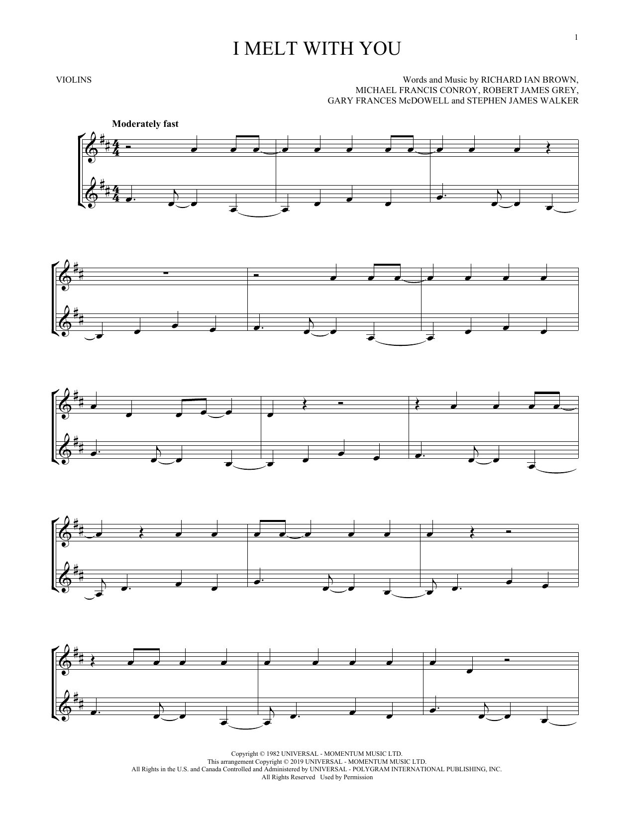 I Melt With You (Violin Duet)