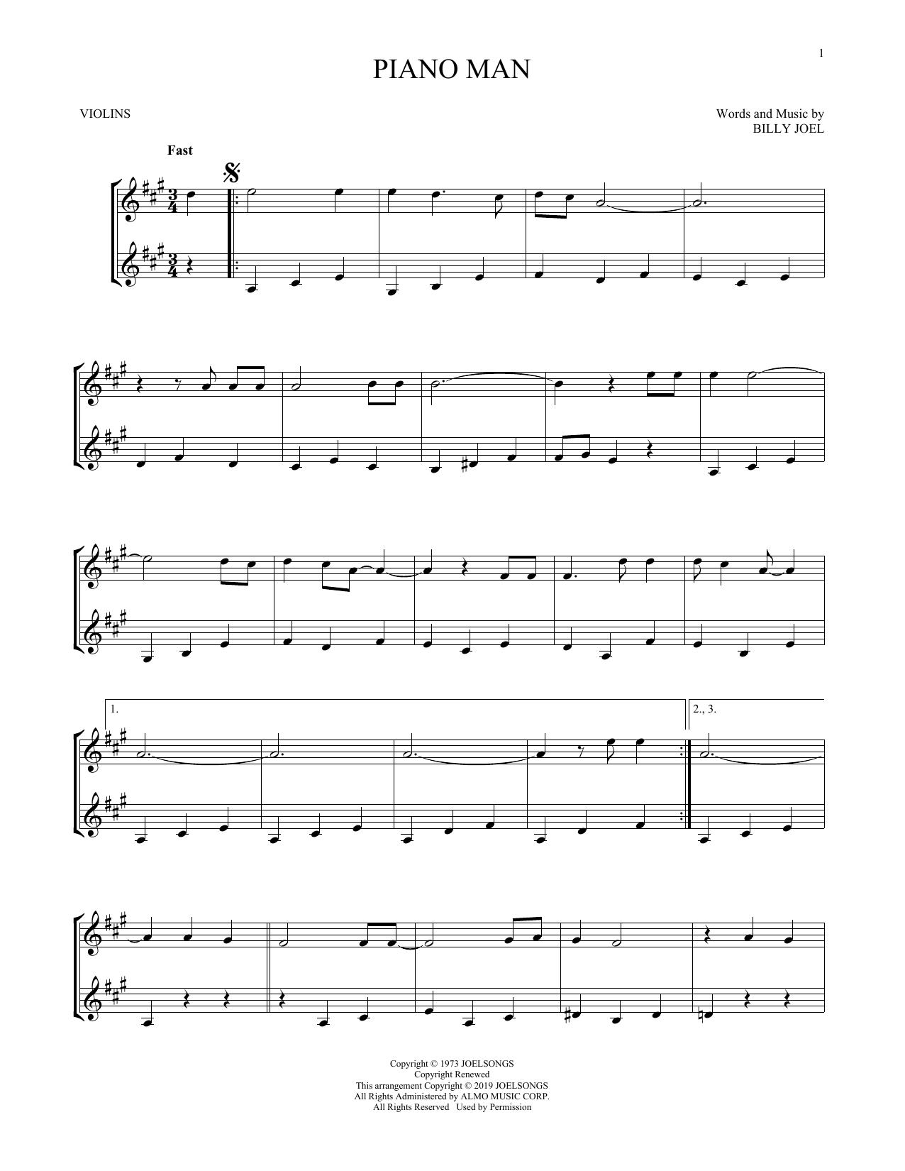 Piano Man (Violin Duet)