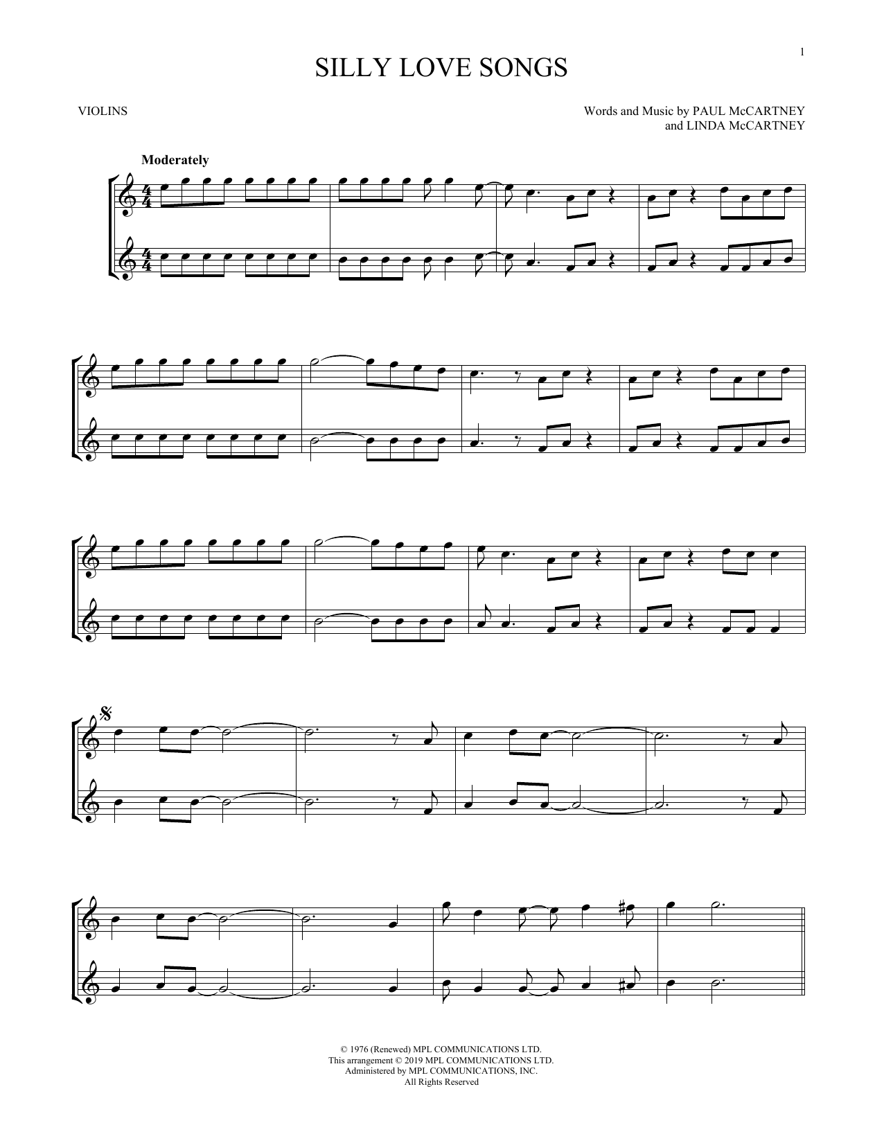 Silly Love Songs (Violin Duet)