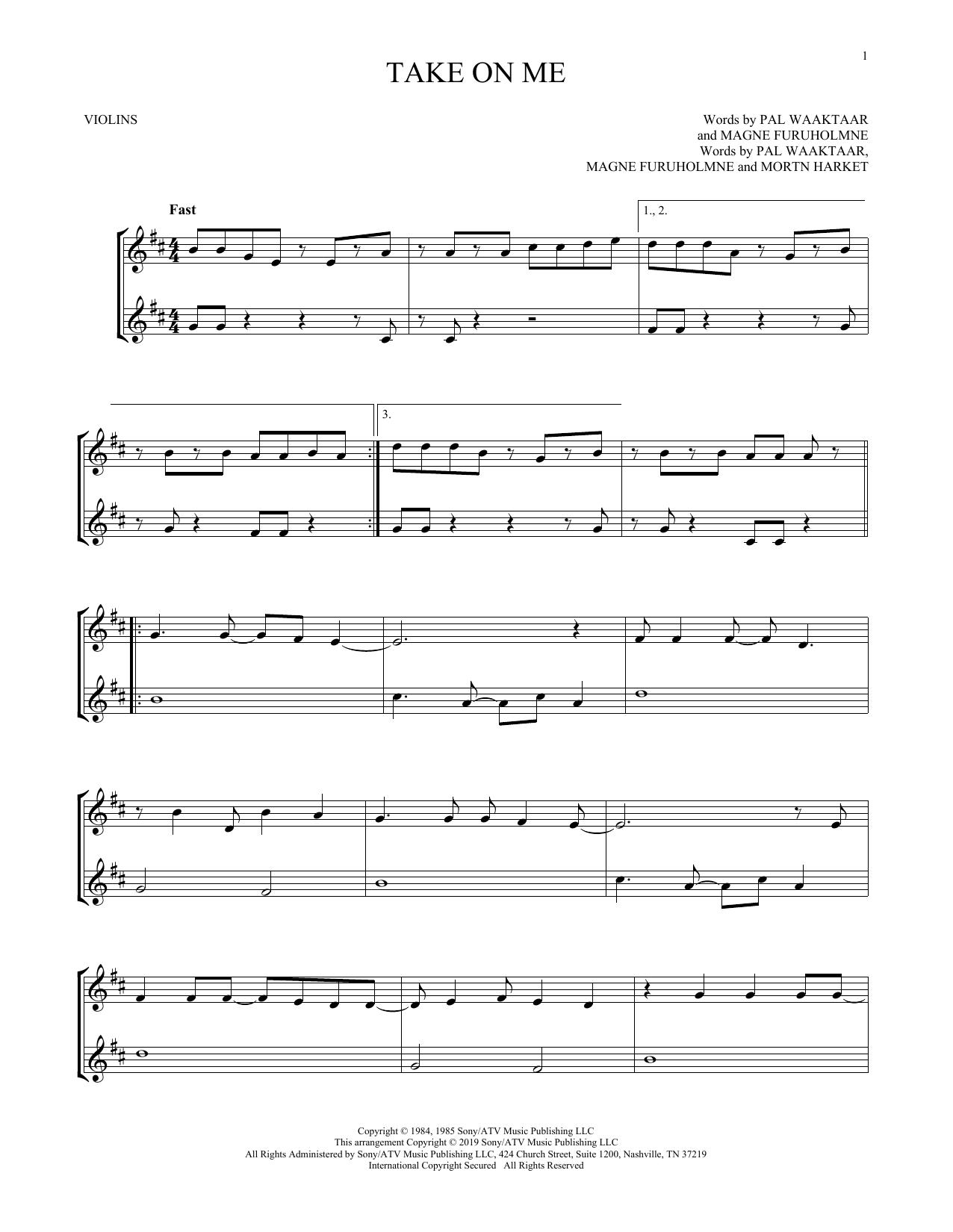 Take On Me (Violin Duet)