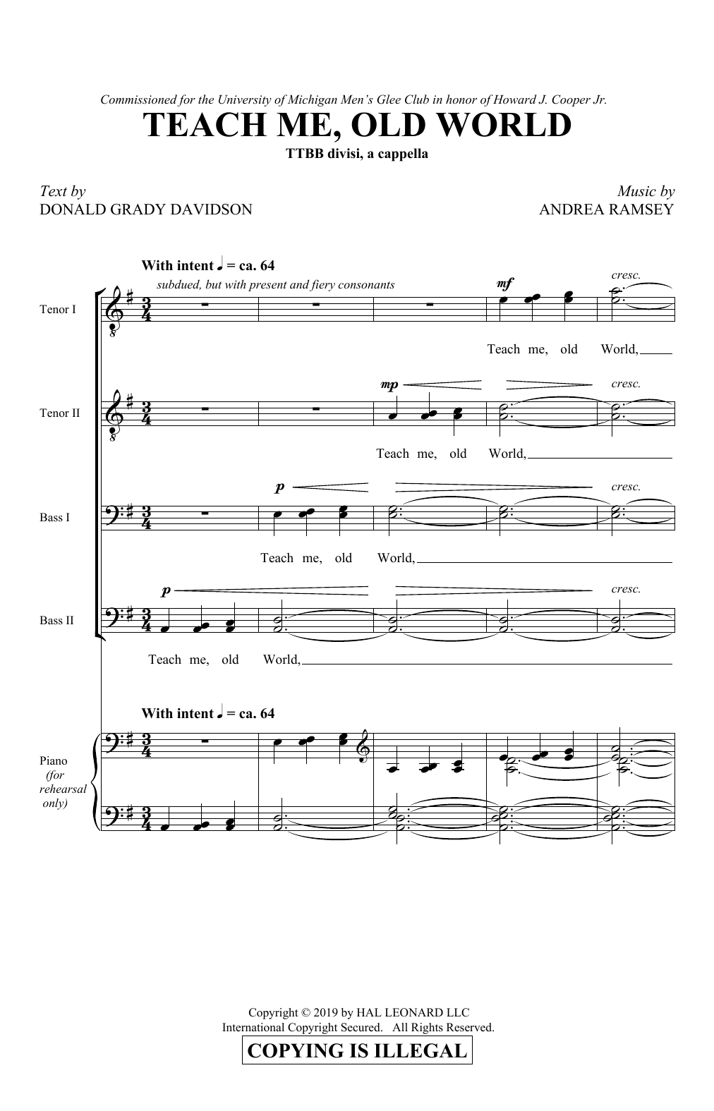 Teach Me, Old World (TTBB Choir)