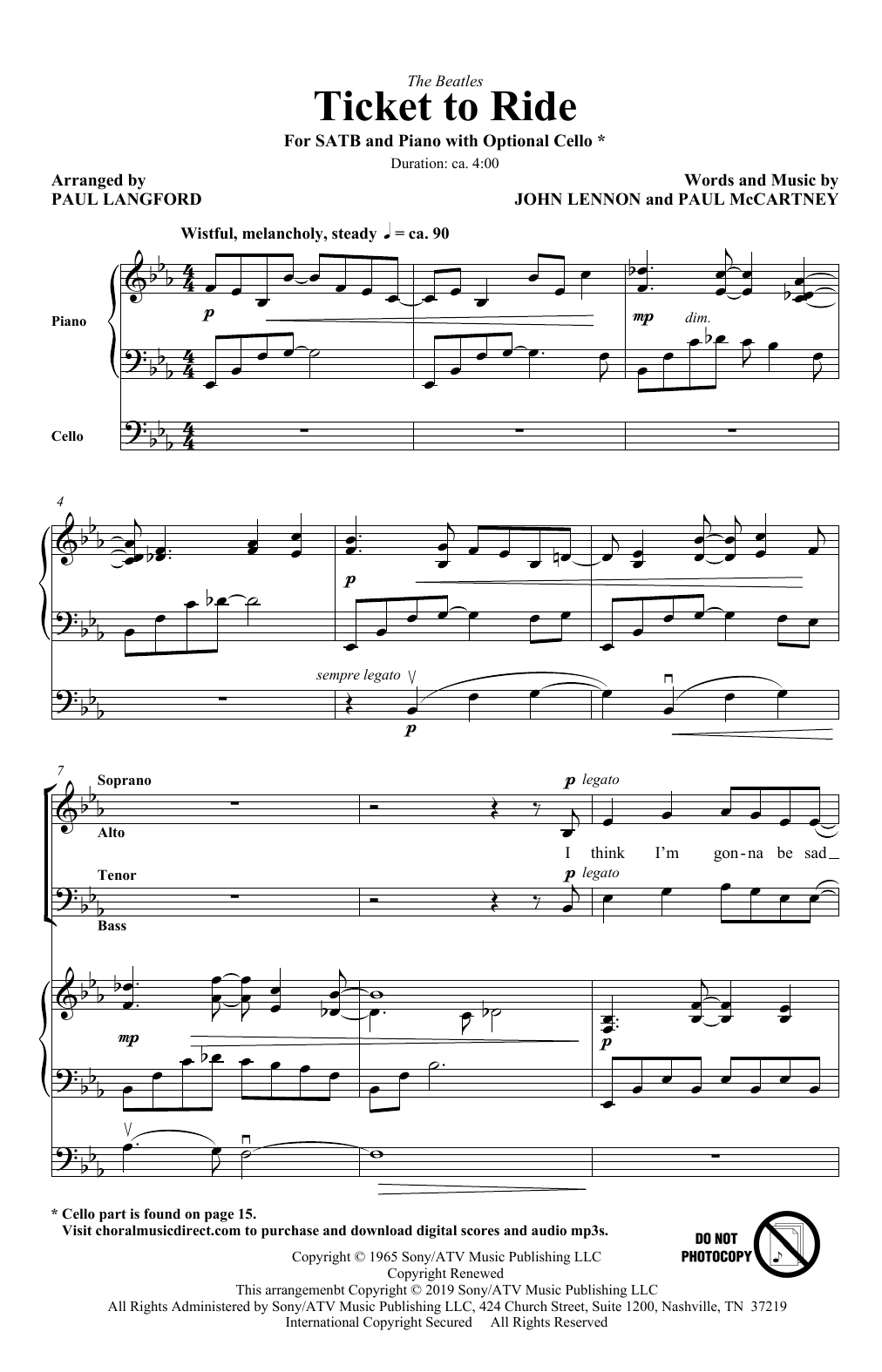 Ticket To Ride (arr. Paul Langford) (SATB Choir)