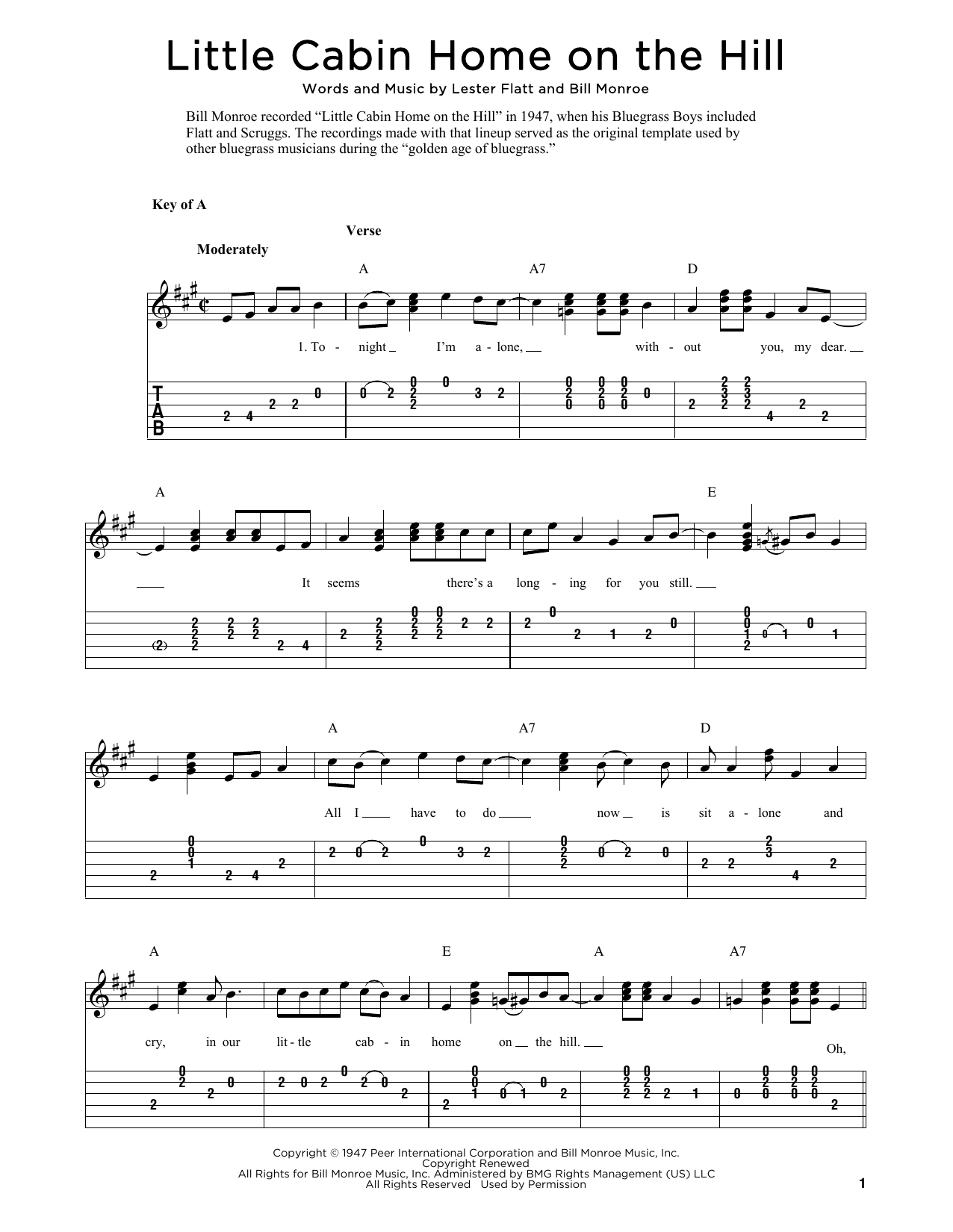 Little Cabin Home On The Hill (arr. Fred Sokolow) (Solo Guitar Tab)