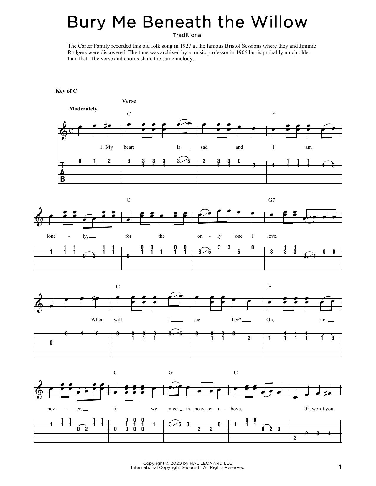 Bury Me Beneath The Willow (arr. Fred Sokolow) (Solo Guitar)