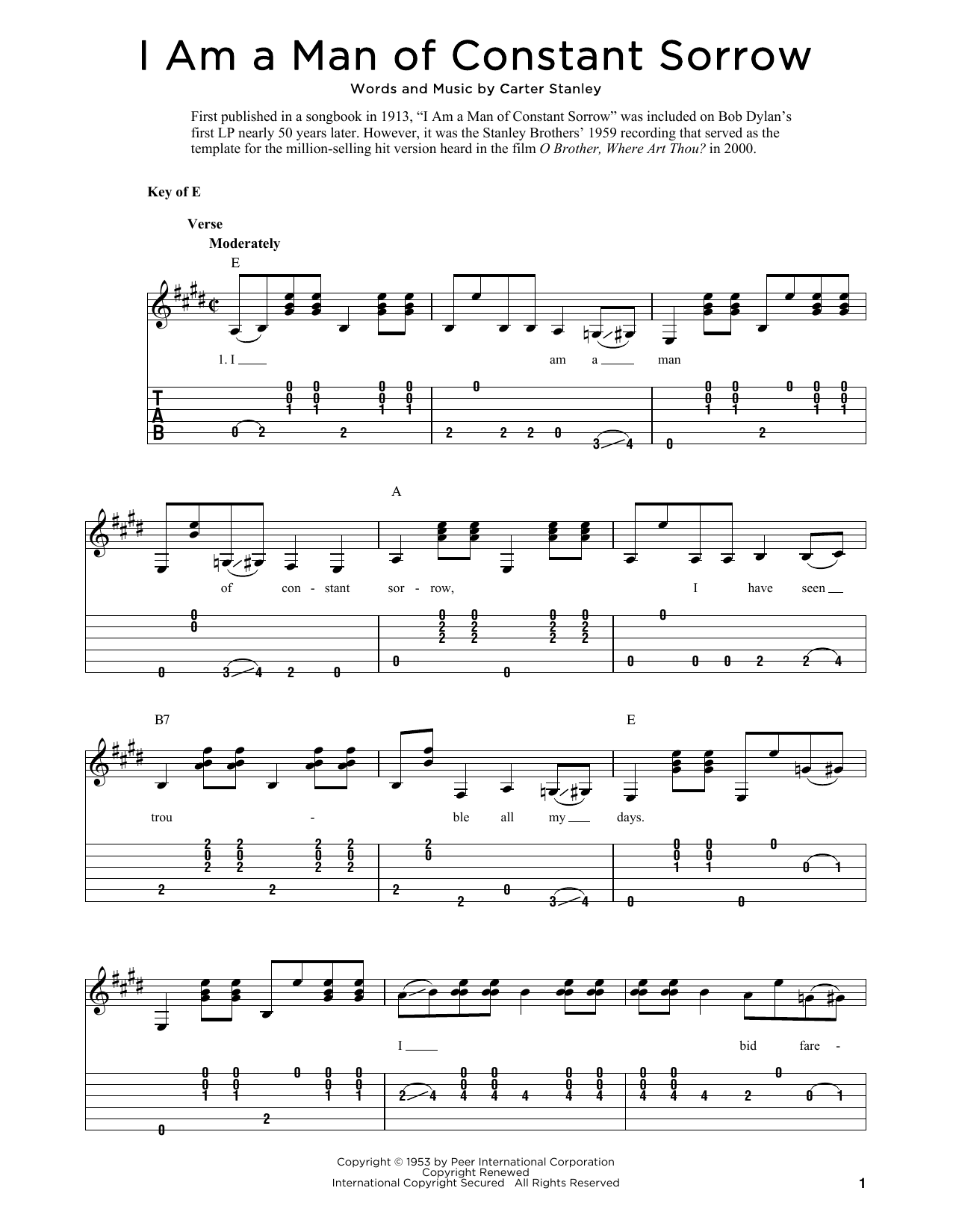 I Am A Man Of Constant Sorrow (arr. Fred Sokolow) (Solo Guitar Tab)