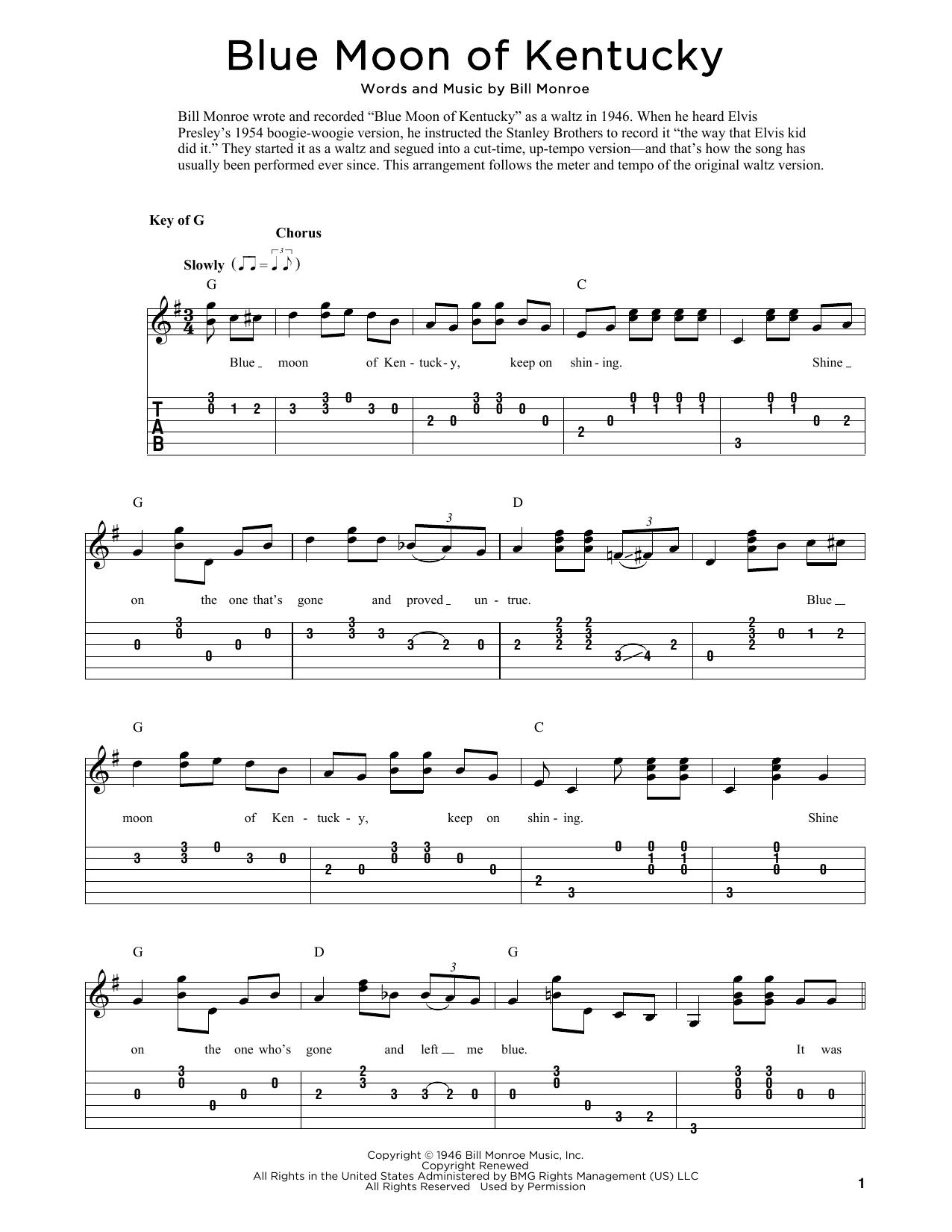 Blue Moon Of Kentucky (arr. Fred Sokolow) (Solo Guitar)