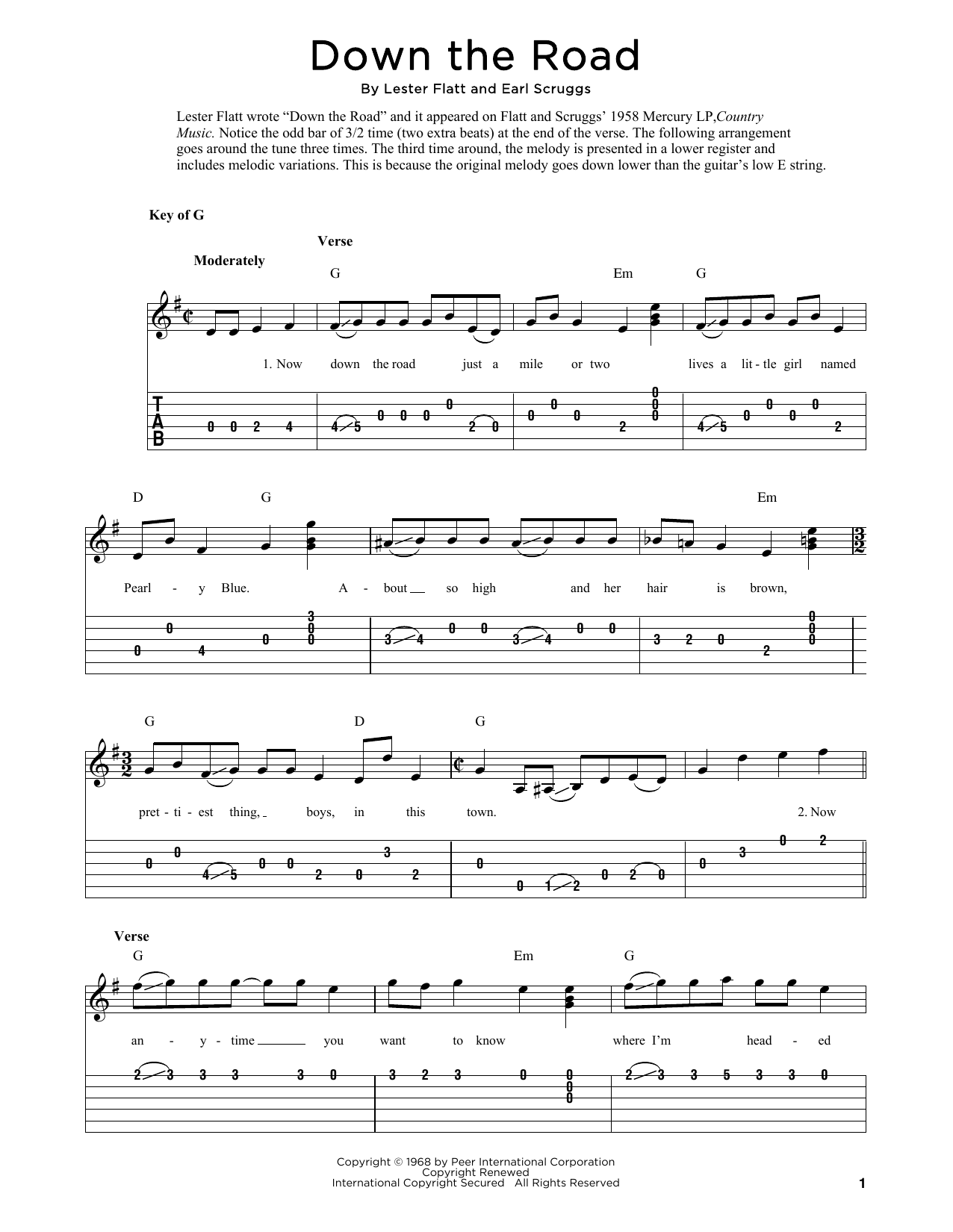 Down The Road (arr. Fred Sokolow) (Solo Guitar Tab)