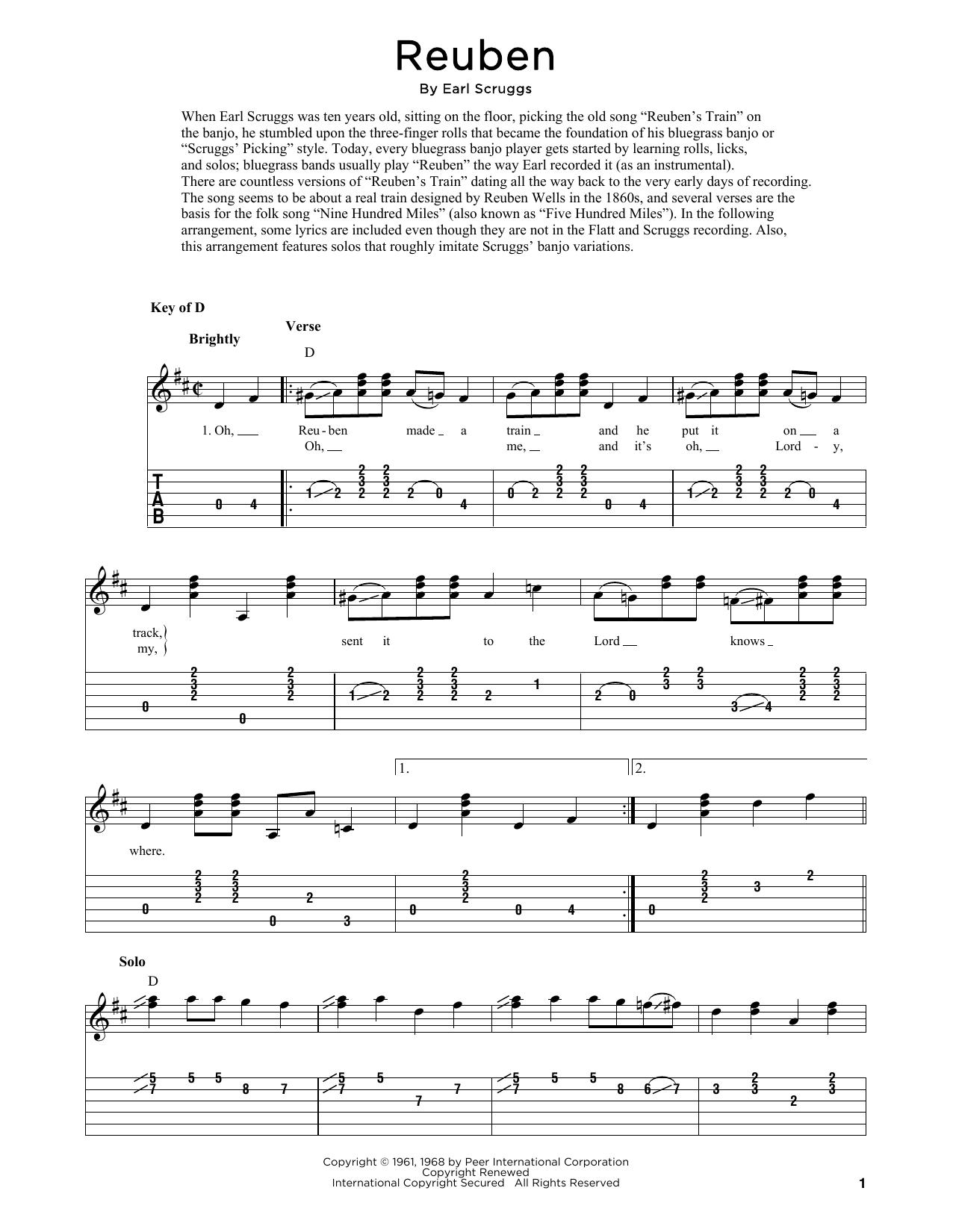 Reuben (arr. Fred Sokolow) (Solo Guitar Tab)