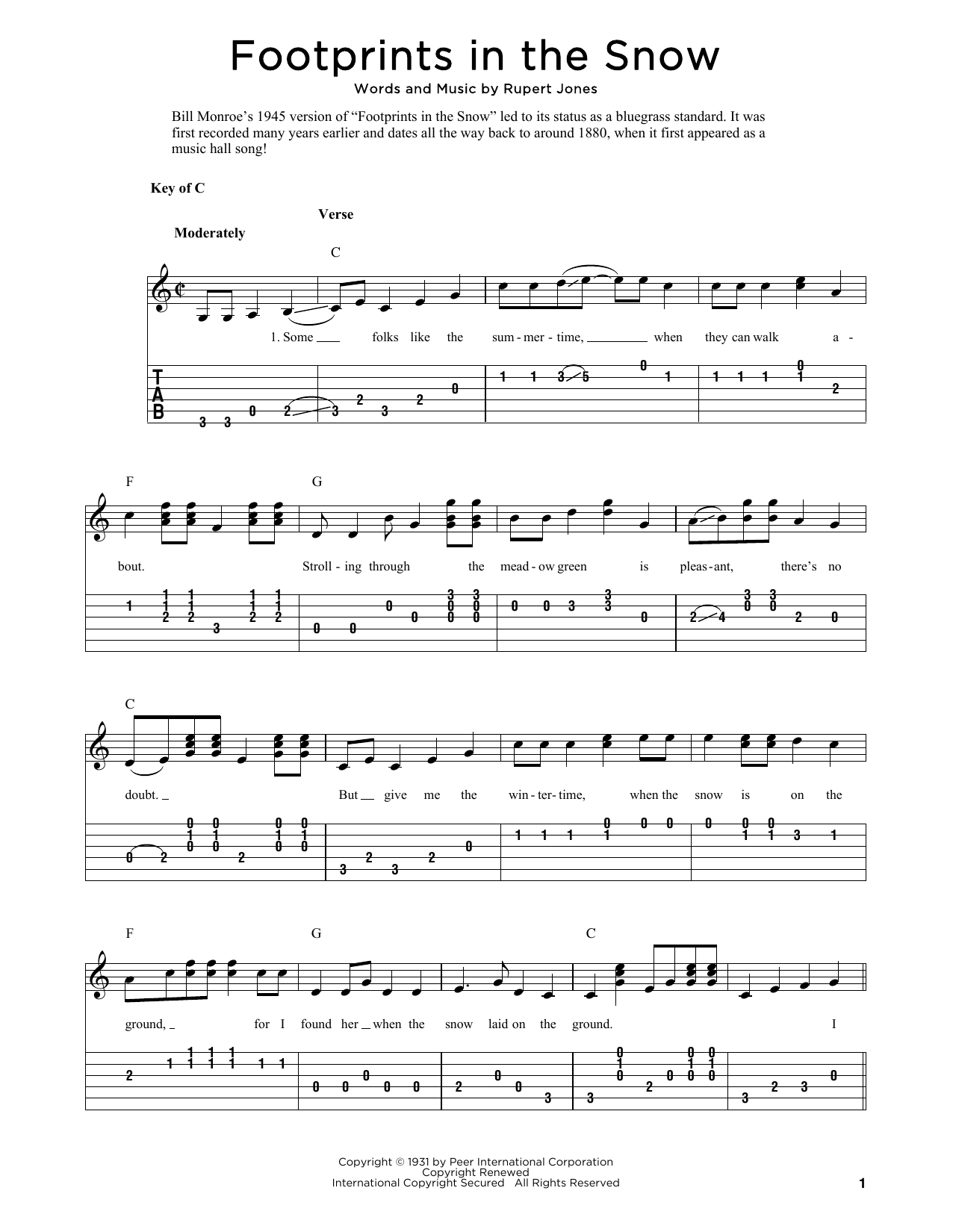 Footprints In The Snow (arr. Fred Sokolow) (Solo Guitar Tab)