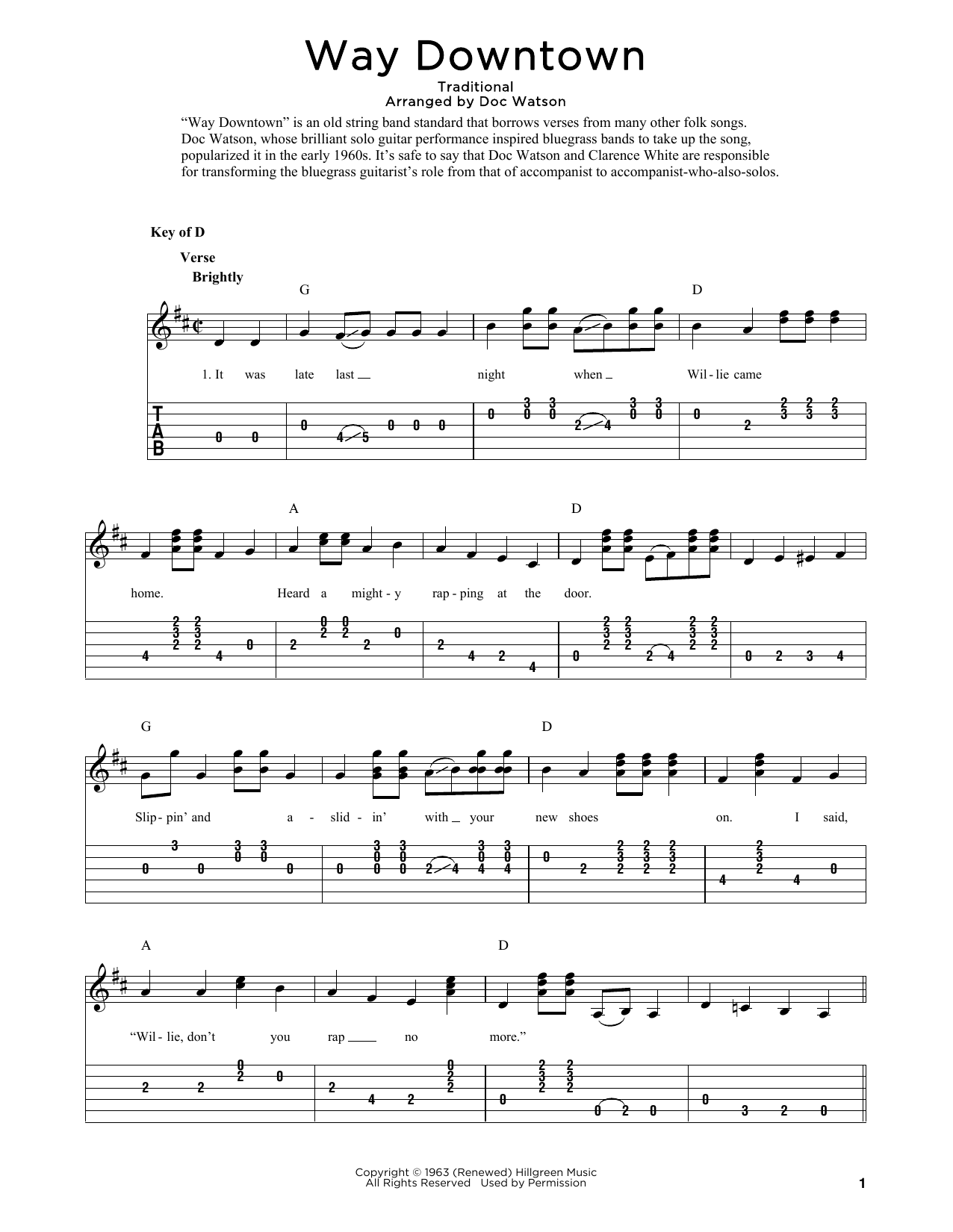 Way Downtown (arr. Fred Sokolow) (Solo Guitar Tab)