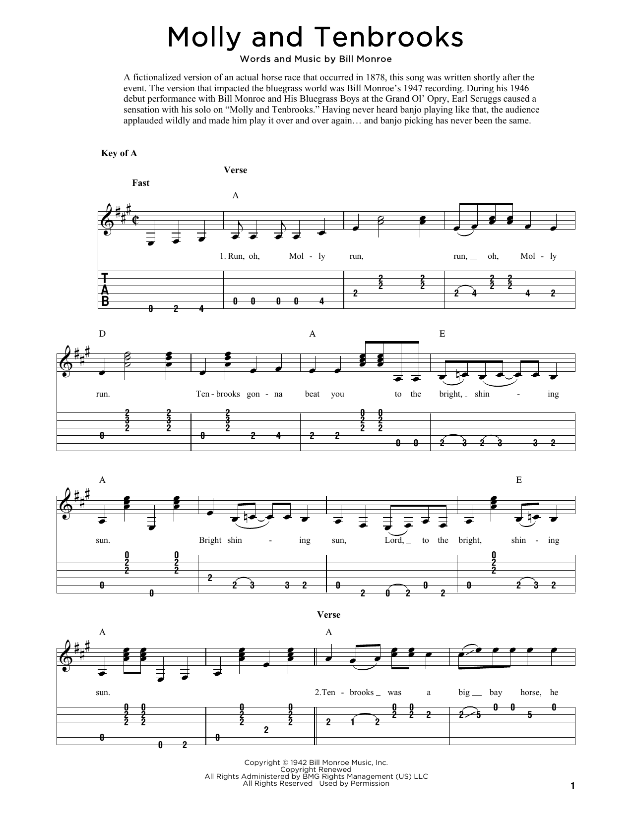 Molly And Tenbrooks (arr. Fred Sokolow) (Solo Guitar Tab)
