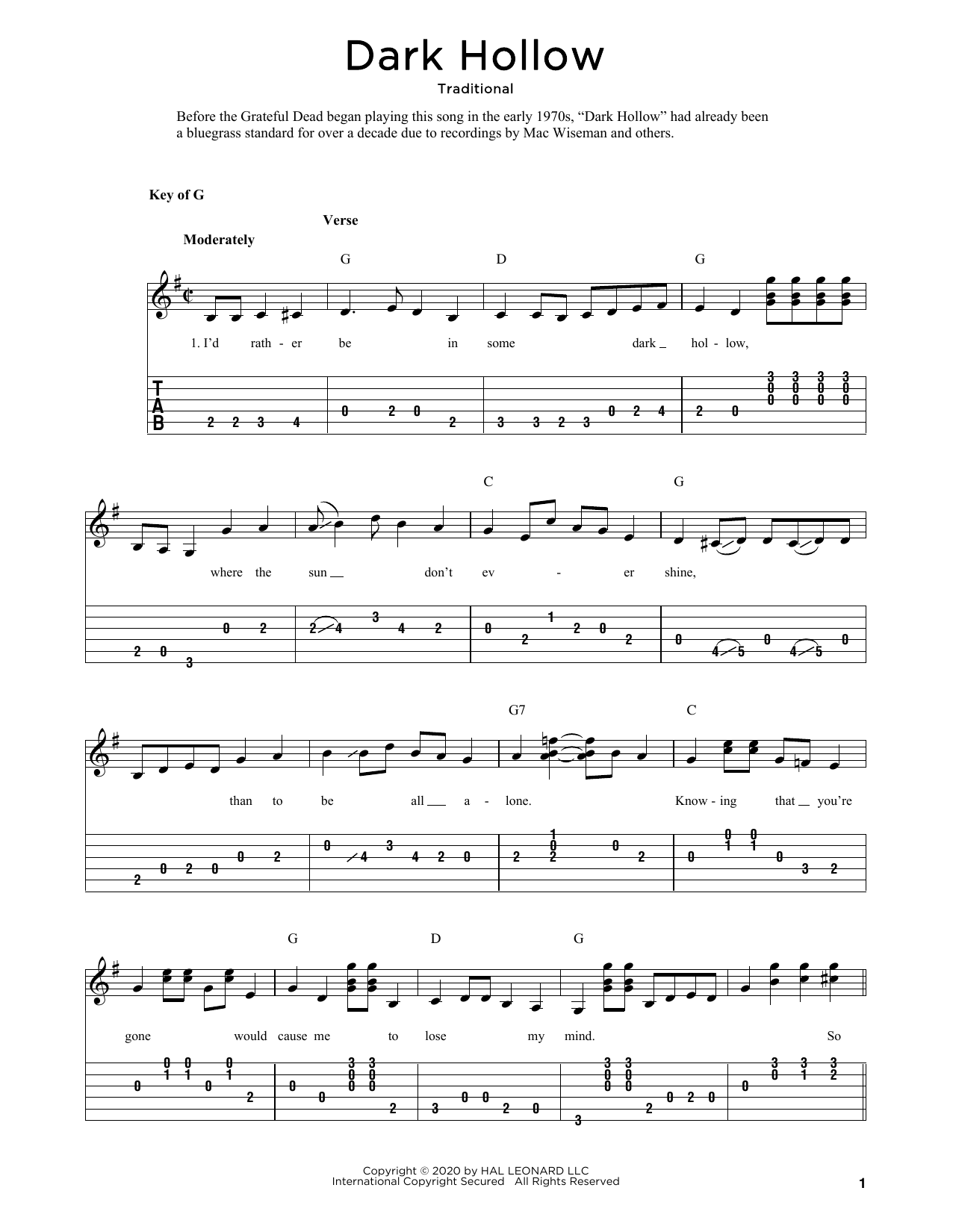 Dark Hollow (arr. Fred Sokolow) (Solo Guitar Tab)