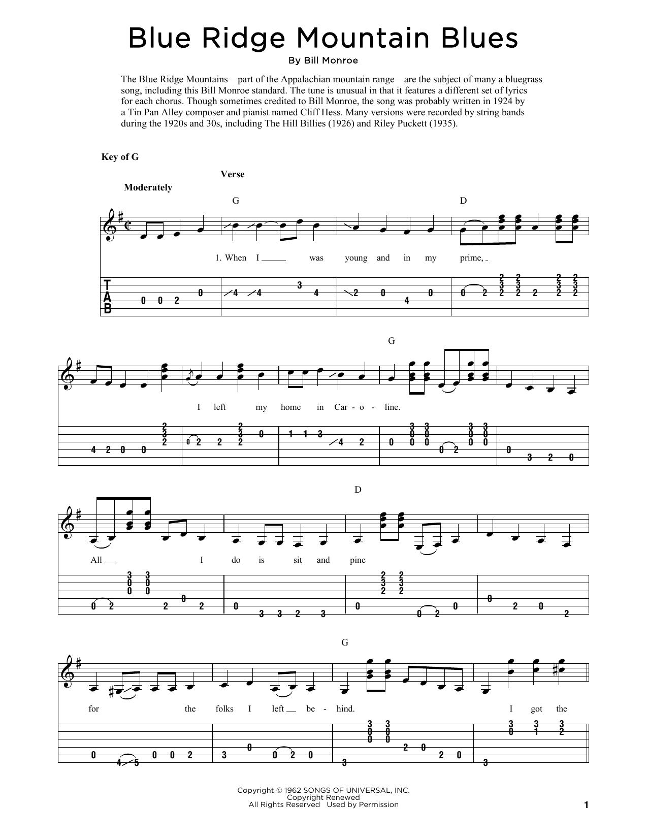 Blue Ridge Mountain Blues (arr. Fred Sokolow) (Solo Guitar Tab)