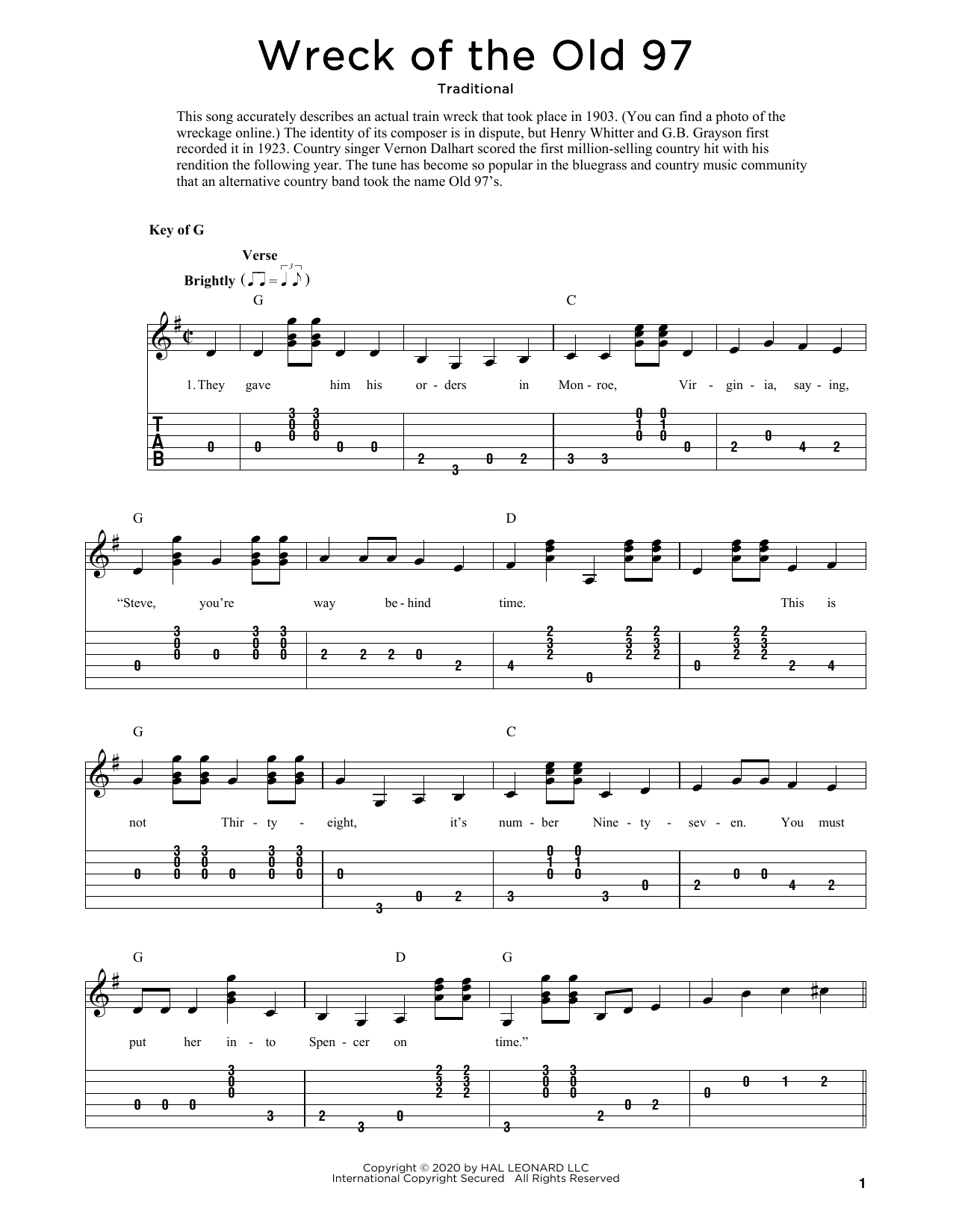 Wreck Of The Old 97 (arr. Fred Sokolow) (Solo Guitar)
