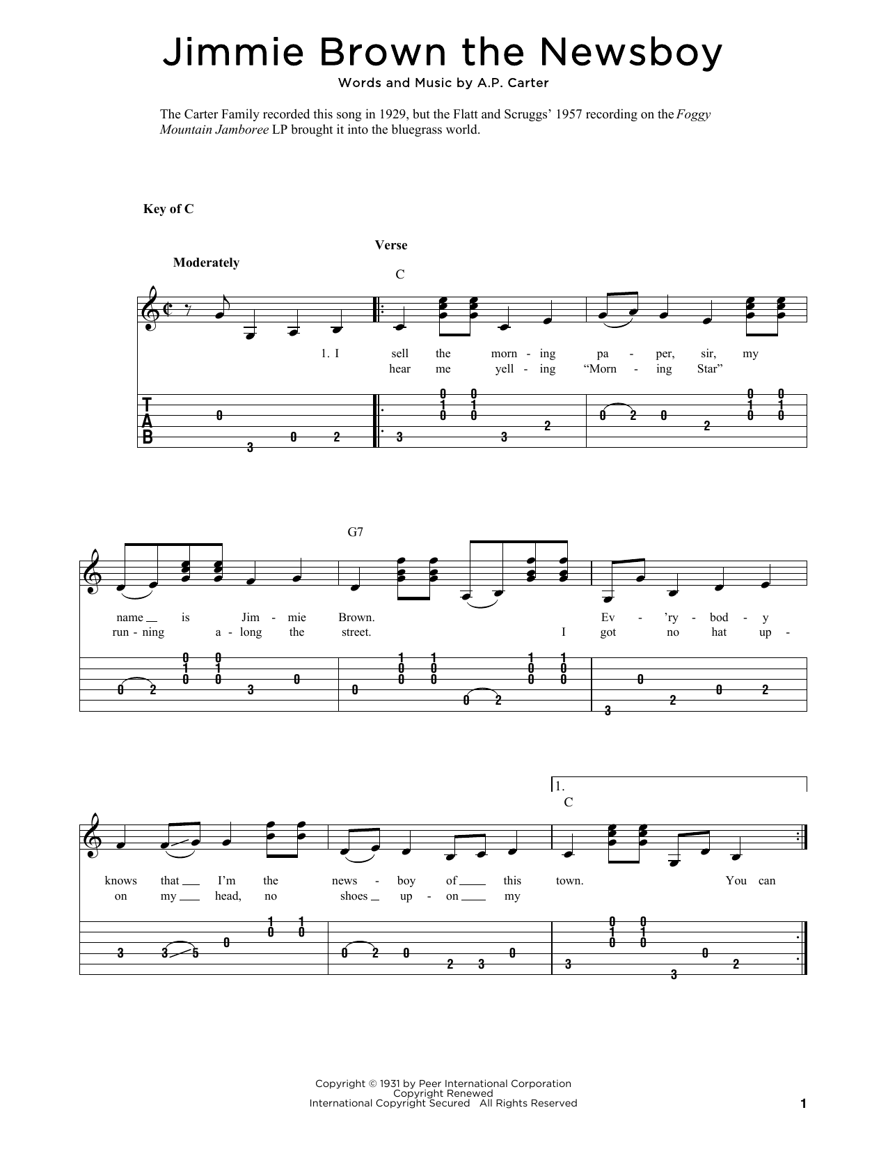Jimmie Brown The Newsboy (arr. Fred Sokolow) (Solo Guitar Tab)