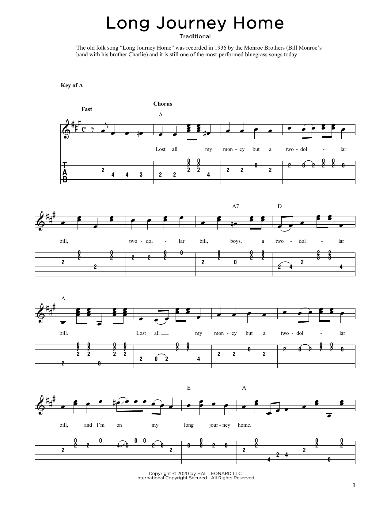 Long Journey Home (arr. Fred Sokolow) (Solo Guitar Tab)