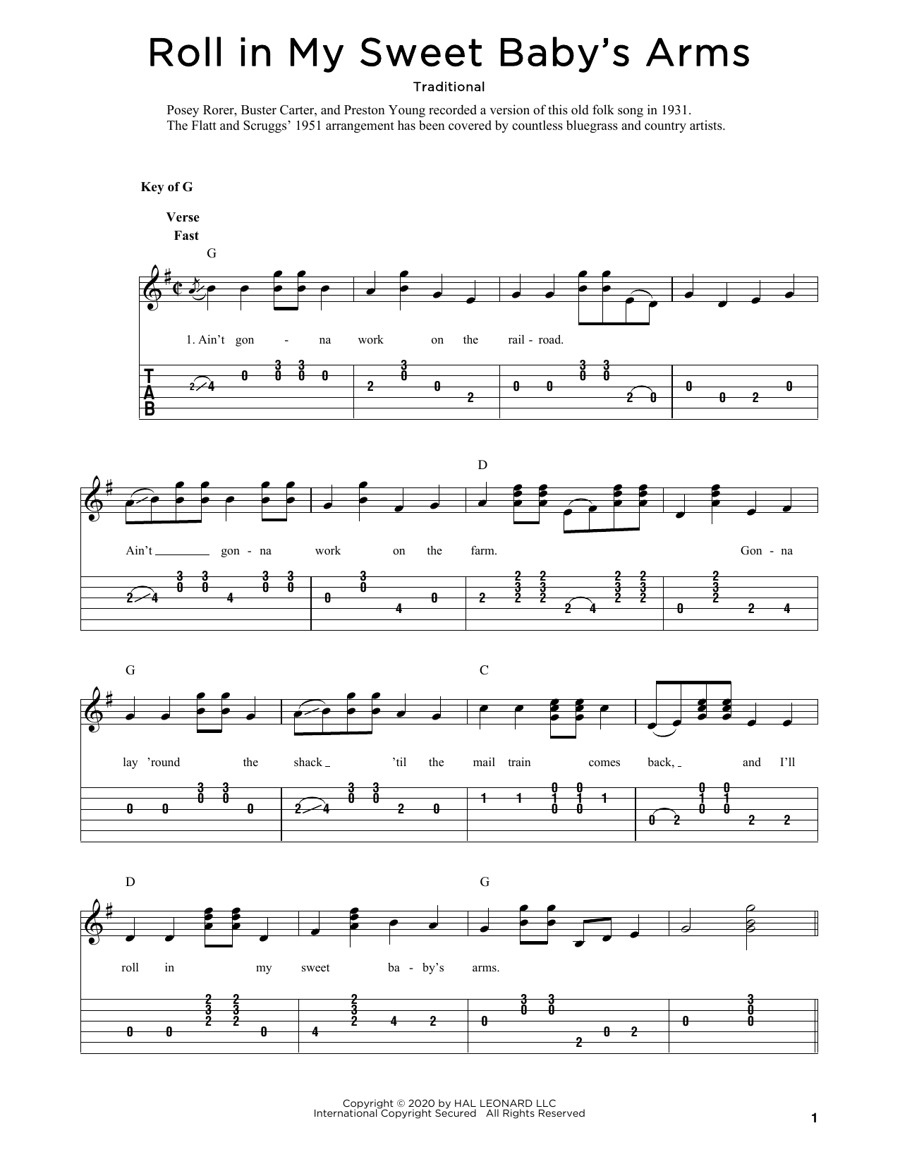 Roll In My Sweet Baby's Arms (arr. Fred Sokolow) (Solo Guitar)