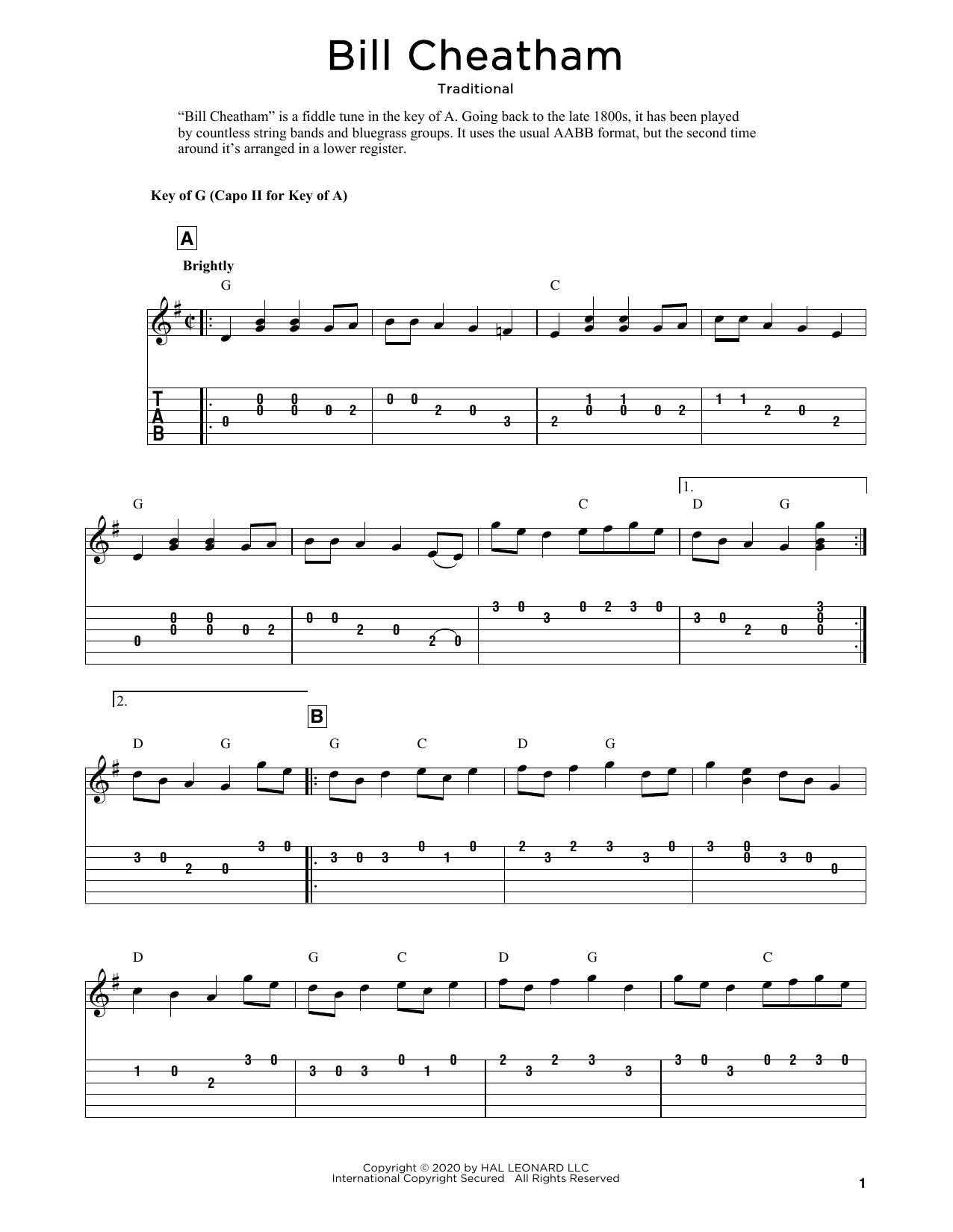 Bill Cheatham (arr. Fred Sokolow) (Solo Guitar Tab)