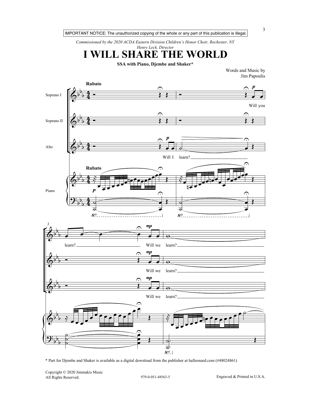 I Will Share The World (SSA Choir)