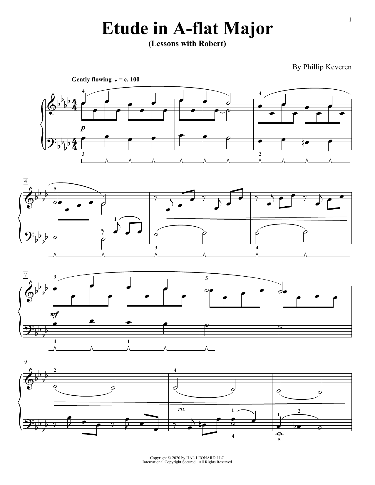 Etude In A-Flat Major (Lessons With Robert) (Piano Solo)
