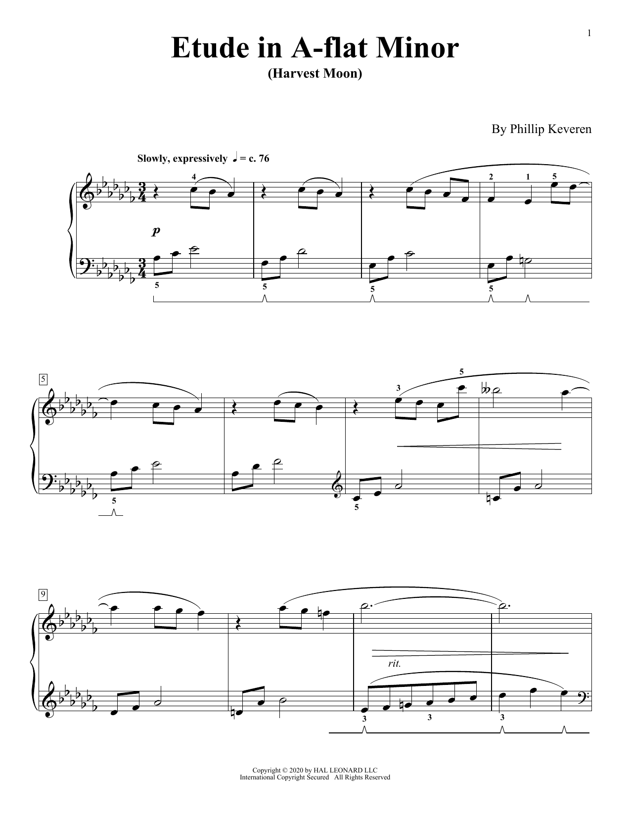 Etude In A-Flat Minor (Harvest Moon) (Piano Solo)