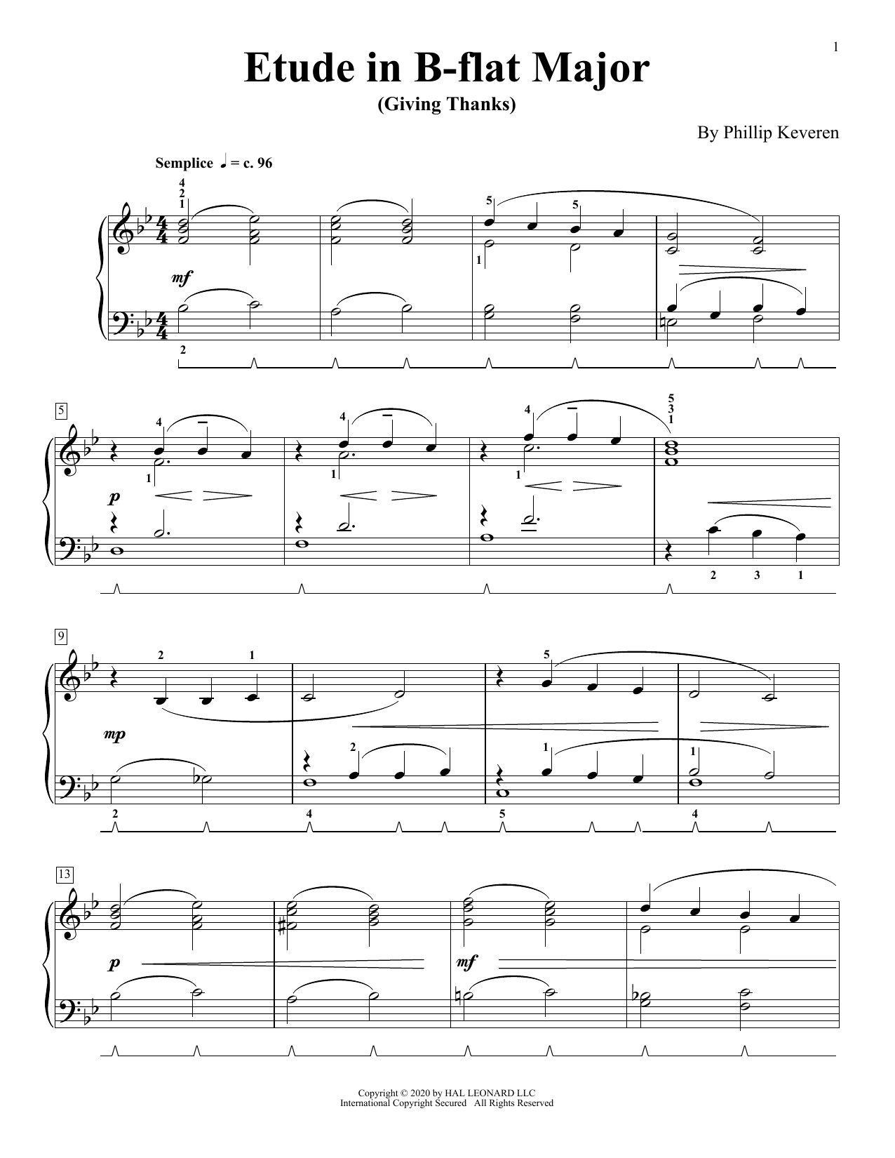 Etude In B-Flat Major (Giving Thanks) (Piano Solo)