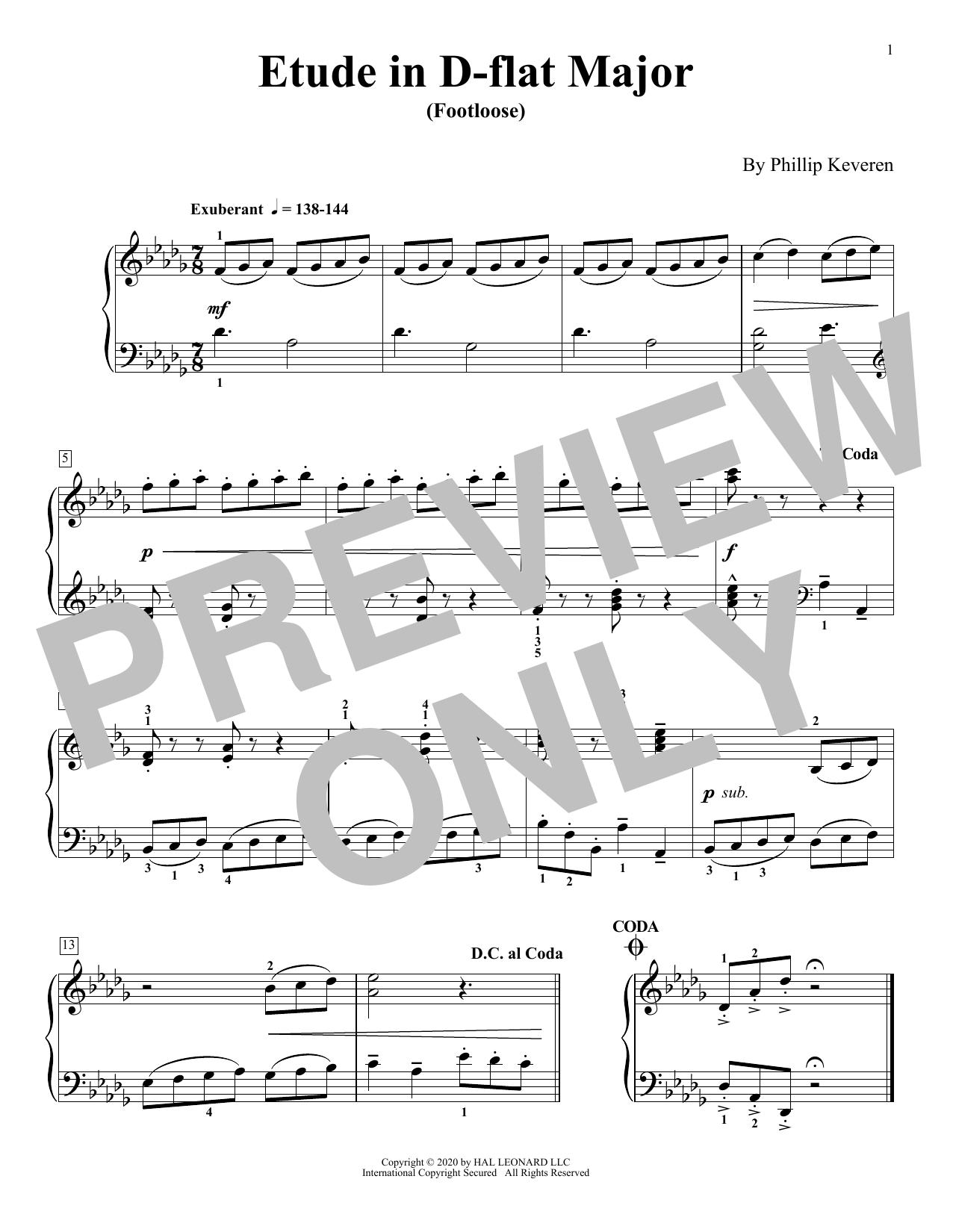 Etude In D-Flat Major (Footloose) (Piano Solo)