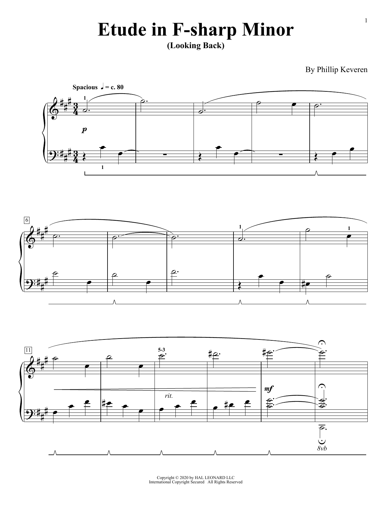 Etude In F-Sharp Minor (Looking Back) (Piano Solo)